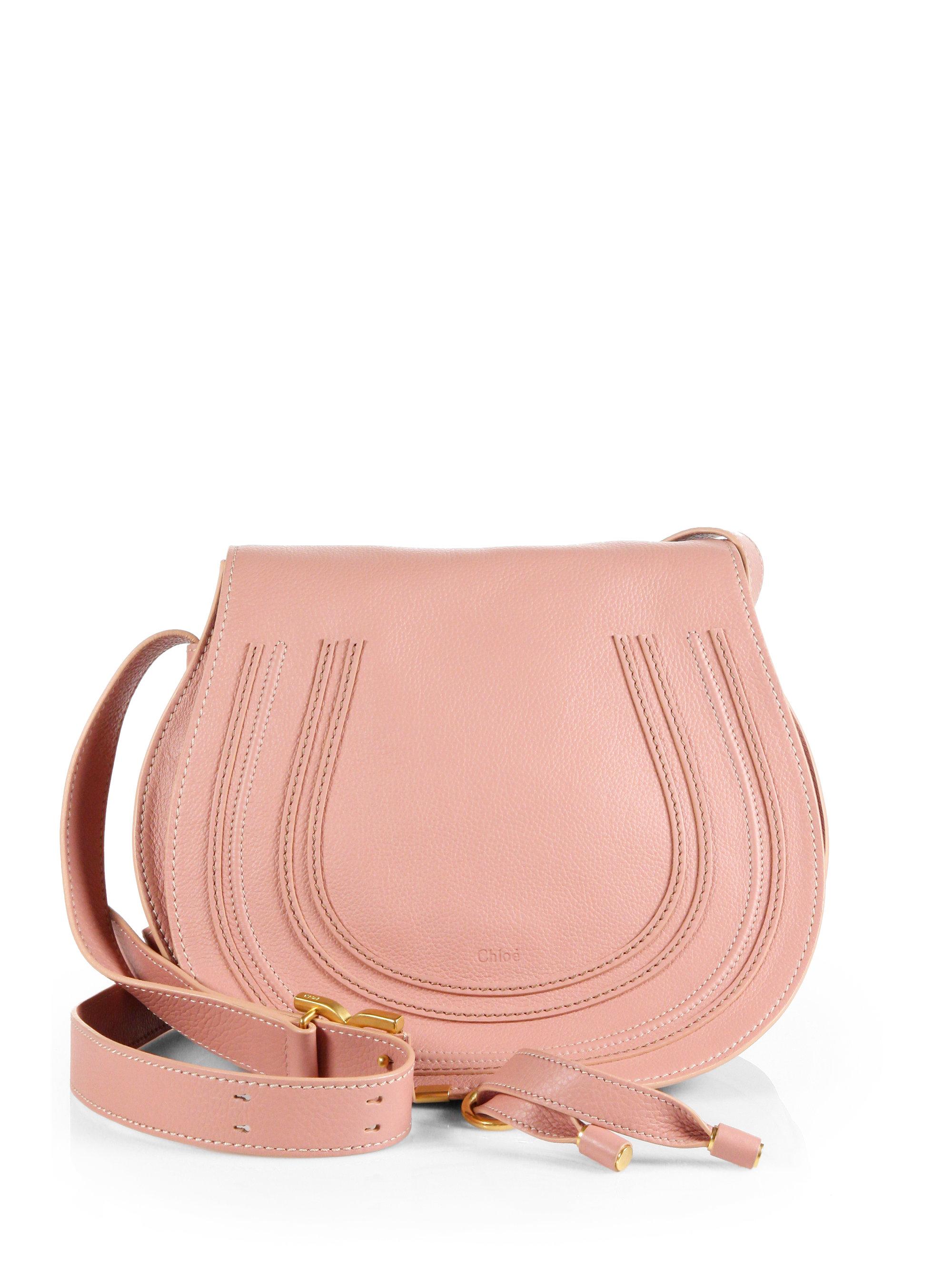 Lyst - Chloé Marcie Medium Leather Saddle Bag in Pink 47ad773297a61
