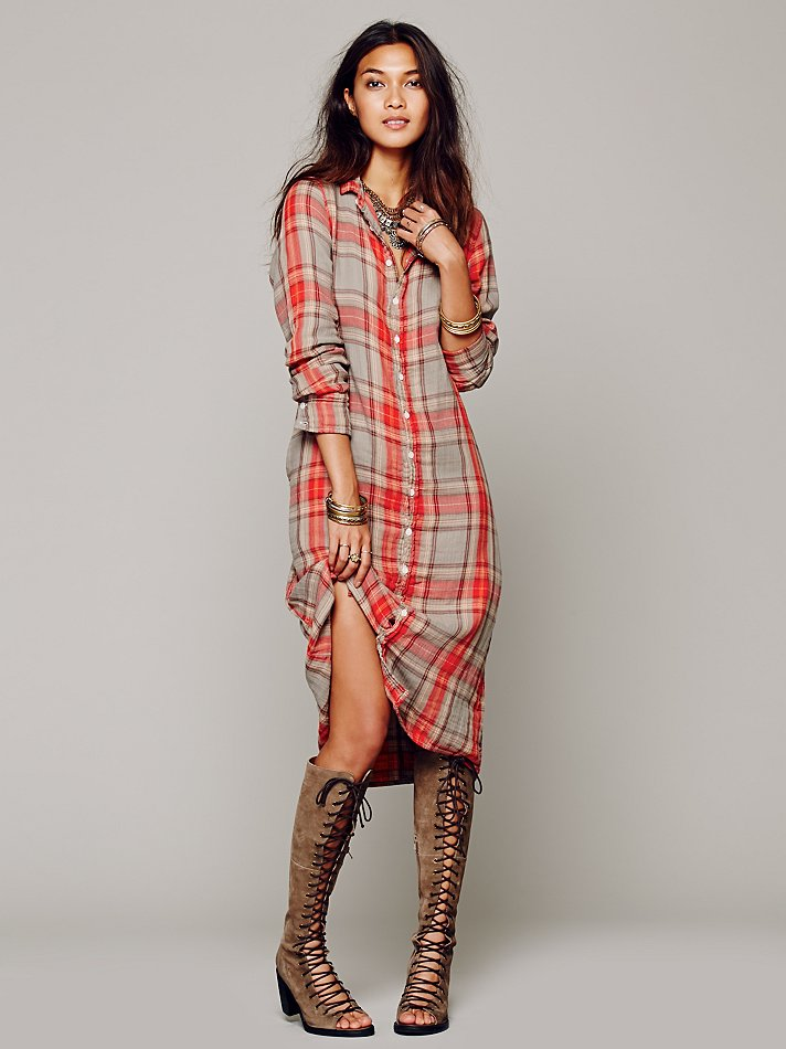 Free People Cotton Plaid Maxi In Wash Red Lyst