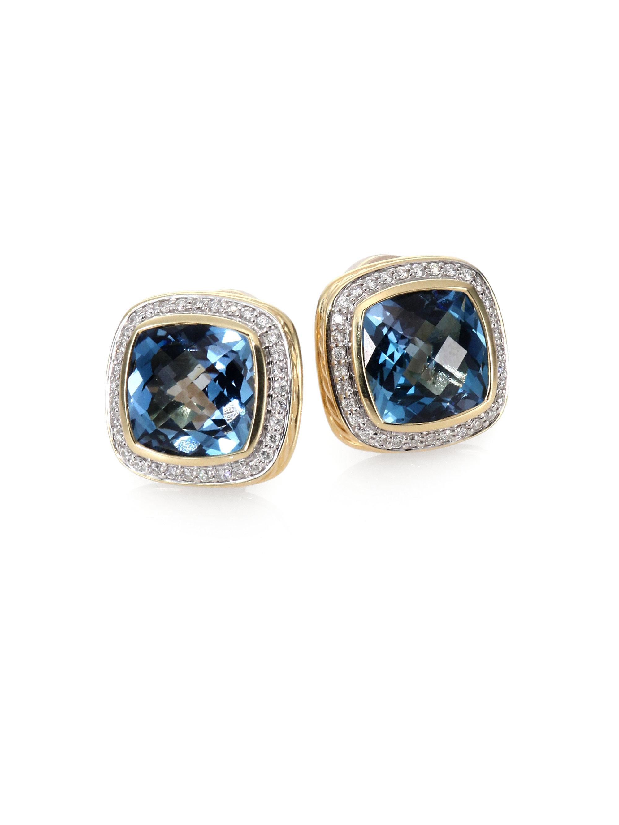 david yurman blue topaz diamond 18k gold earrings in blue. Black Bedroom Furniture Sets. Home Design Ideas