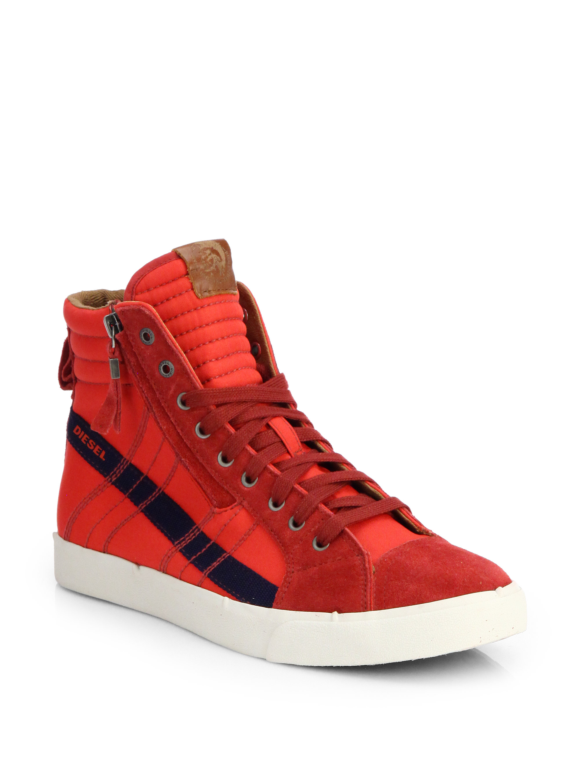 Rubber Rings For Men >> Diesel Dstring Striped Hightop Sneakers in Red for Men   Lyst