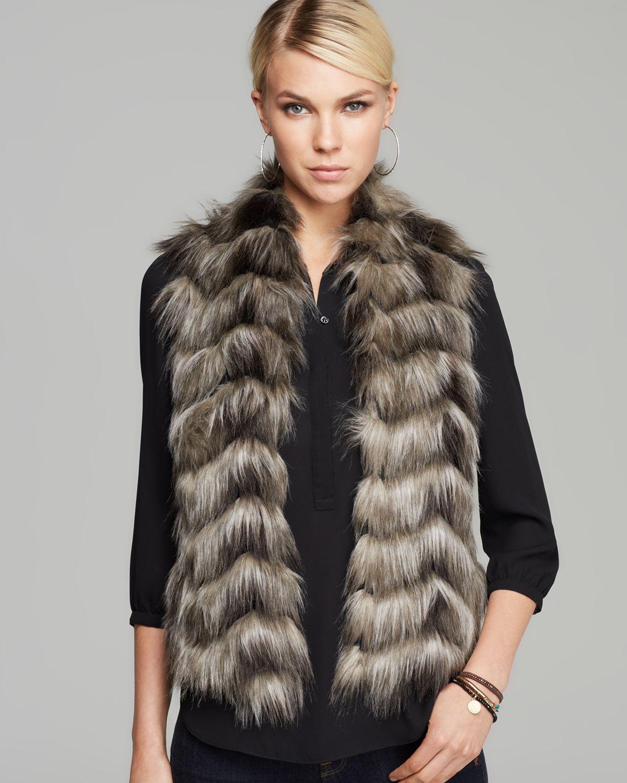 Lyst Guess Vest Faux Fur In Gray