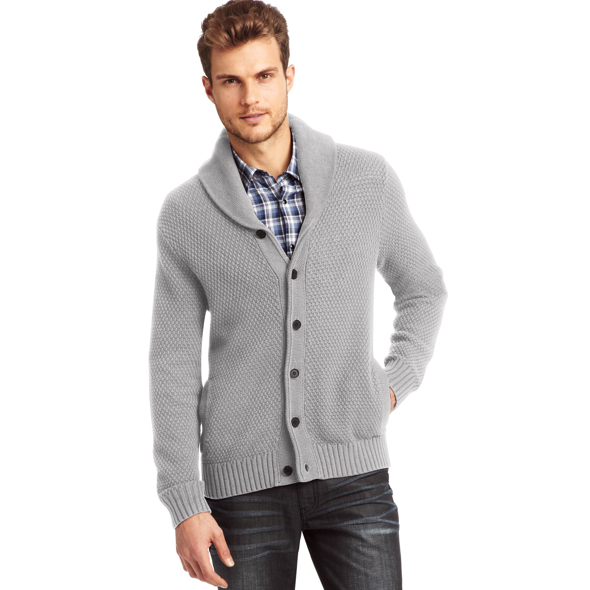 Kenneth cole Long Sleeve Shawl Collar Cardigan Sweater in Gray for ...
