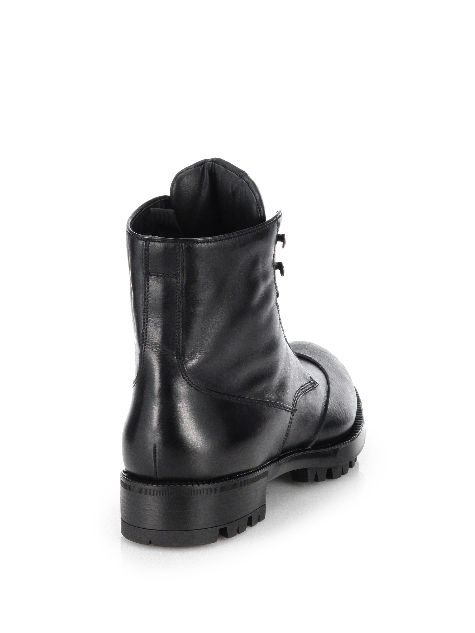 99355f3a936 Prada Black Laceup Leather Combat Boots for men