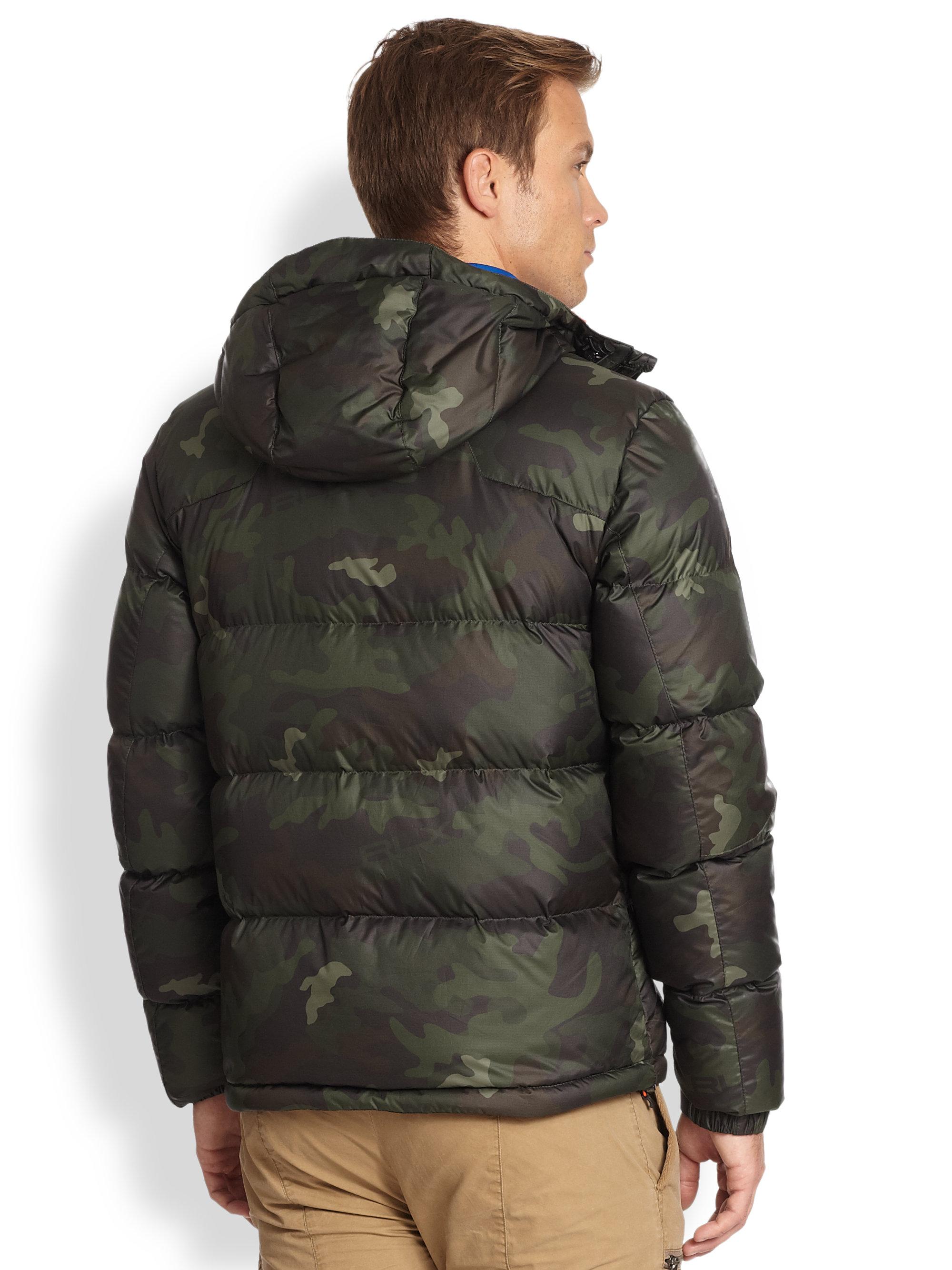 Polo Ralph Lauren Brown /& Green Hudson Camo Down Hooded Puffer Jacket Mens