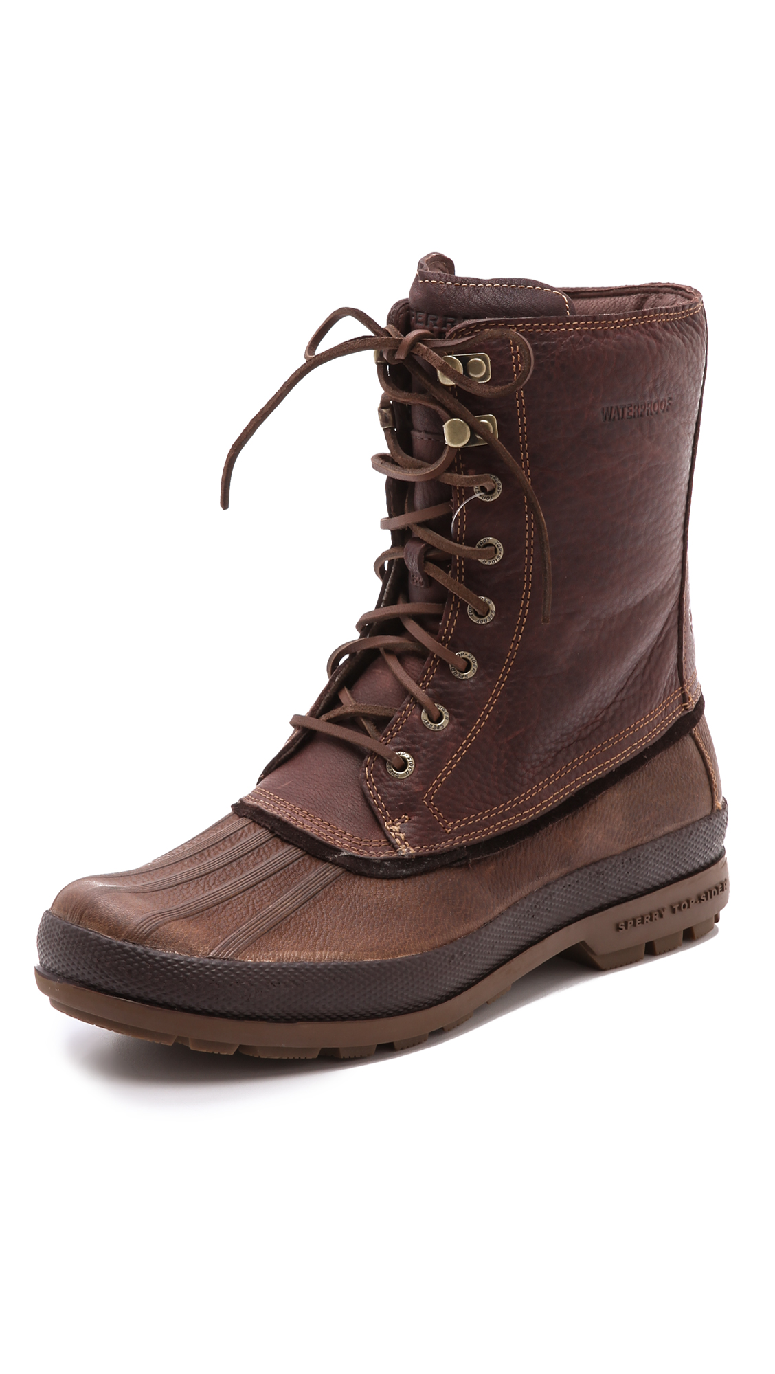 sperry top sider gold bay boots in brown for