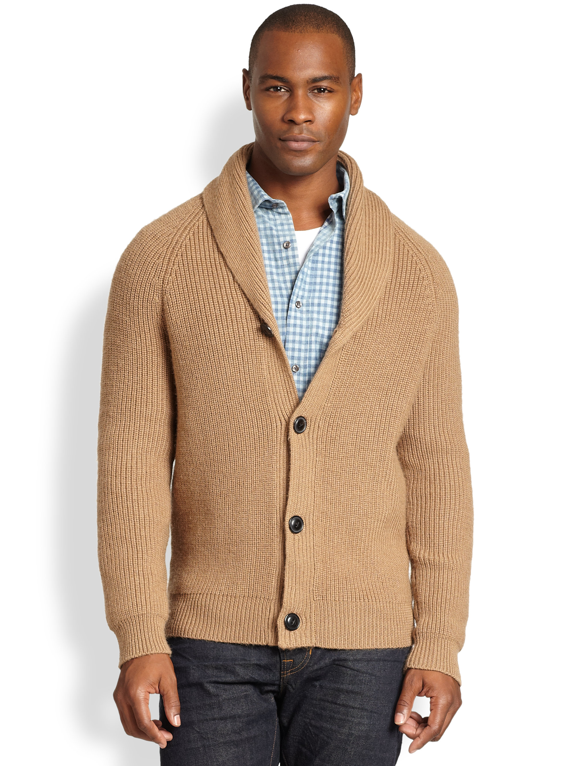 Vince Shawl Collar Cardigan in Brown for Men | Lyst
