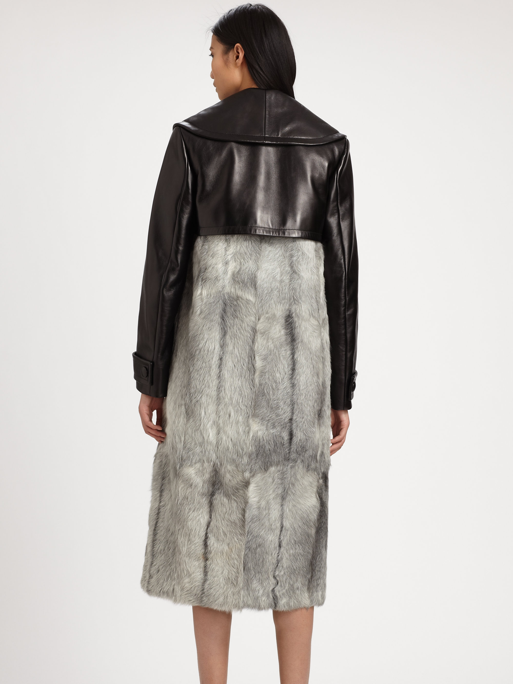 Alexander Wang Goat Fur Leather Trench Coat In Black Lyst
