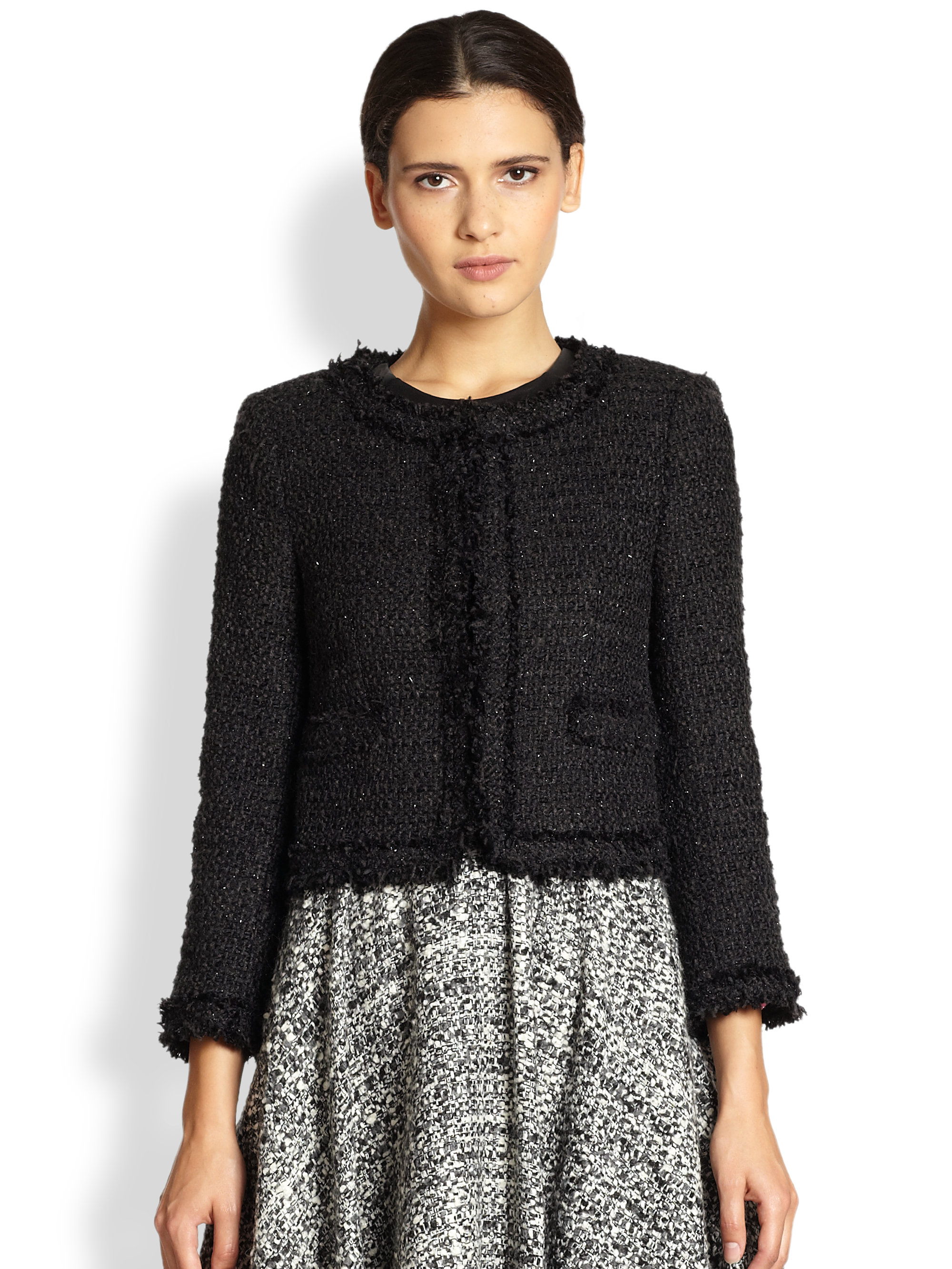 Alice   olivia Kidman Frayed Tweed Jacket in Black | Lyst