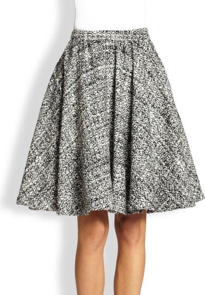 flared tweed midi skirt in gray black