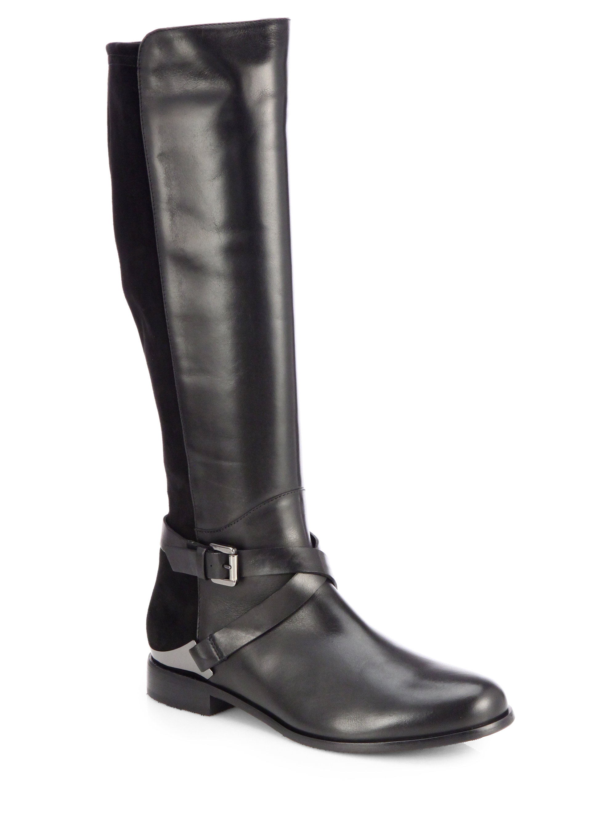 aquatalia darla suede and leather boots in black lyst