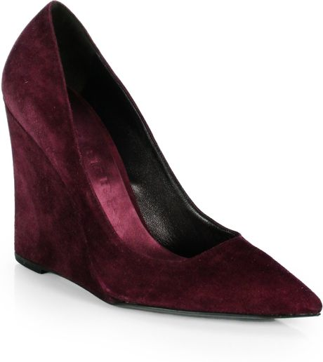 Burberry Fanning Suede Wedge Pumps in Red (PURPLE