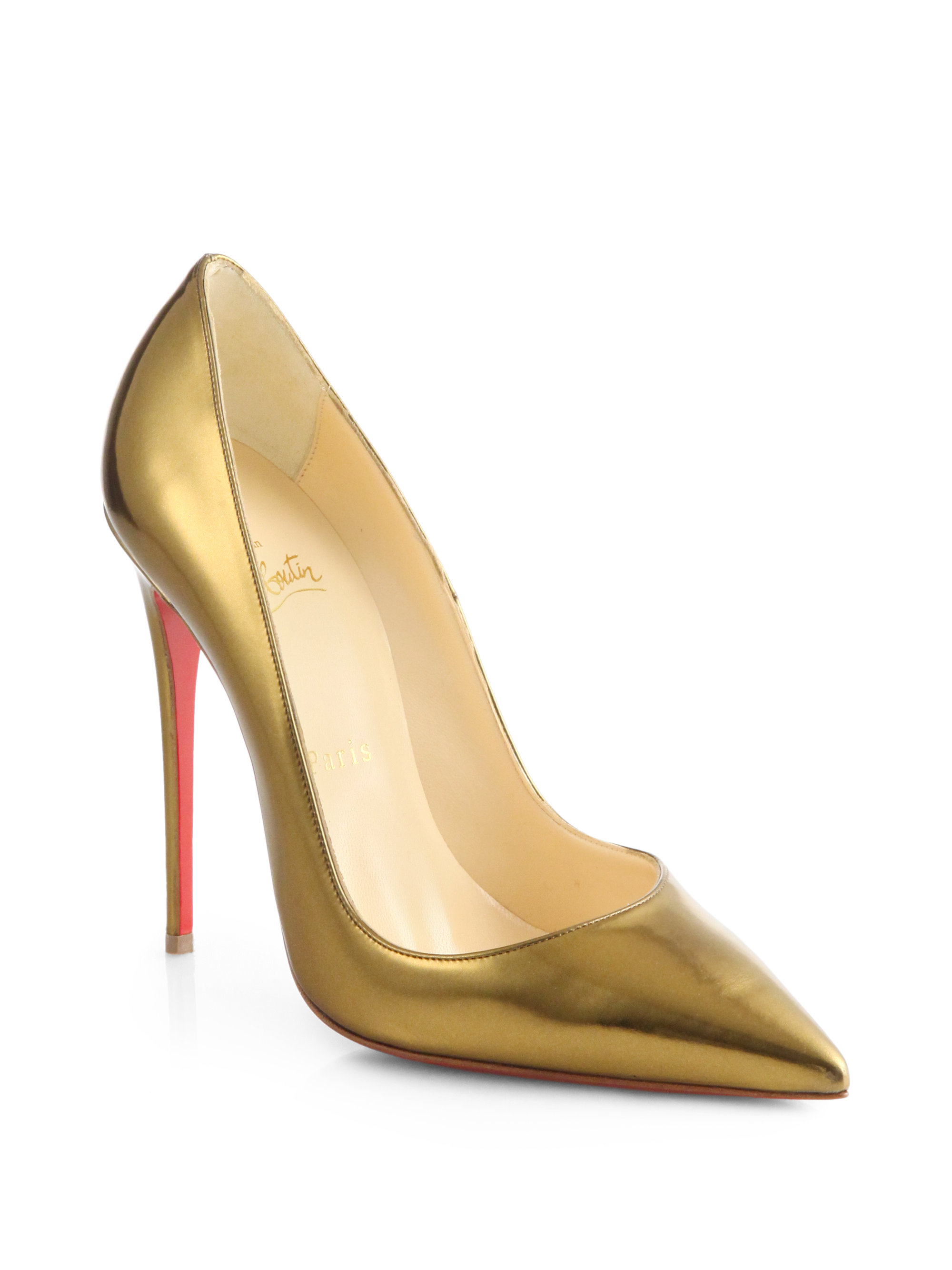 online store 922aa dfc6a Christian Louboutin Metallic So Kate Specchio Leather Pumps