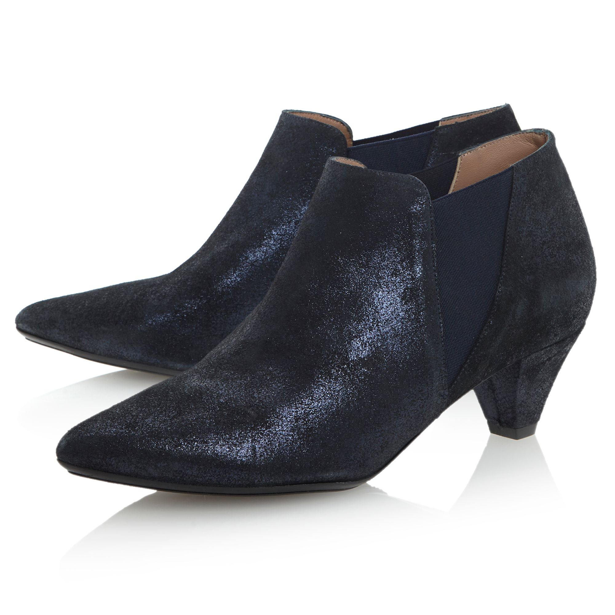 Dune Black Leather Saxe Pointed Kitten Heel Ankle Shoe Boots in Navy (Black)