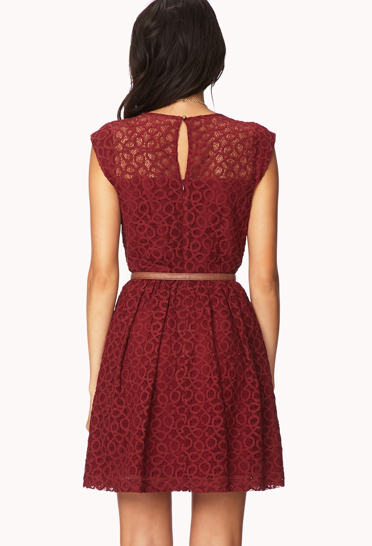 Lyst Forever 21 Ditsy Lace Fit Flare Dress In Red