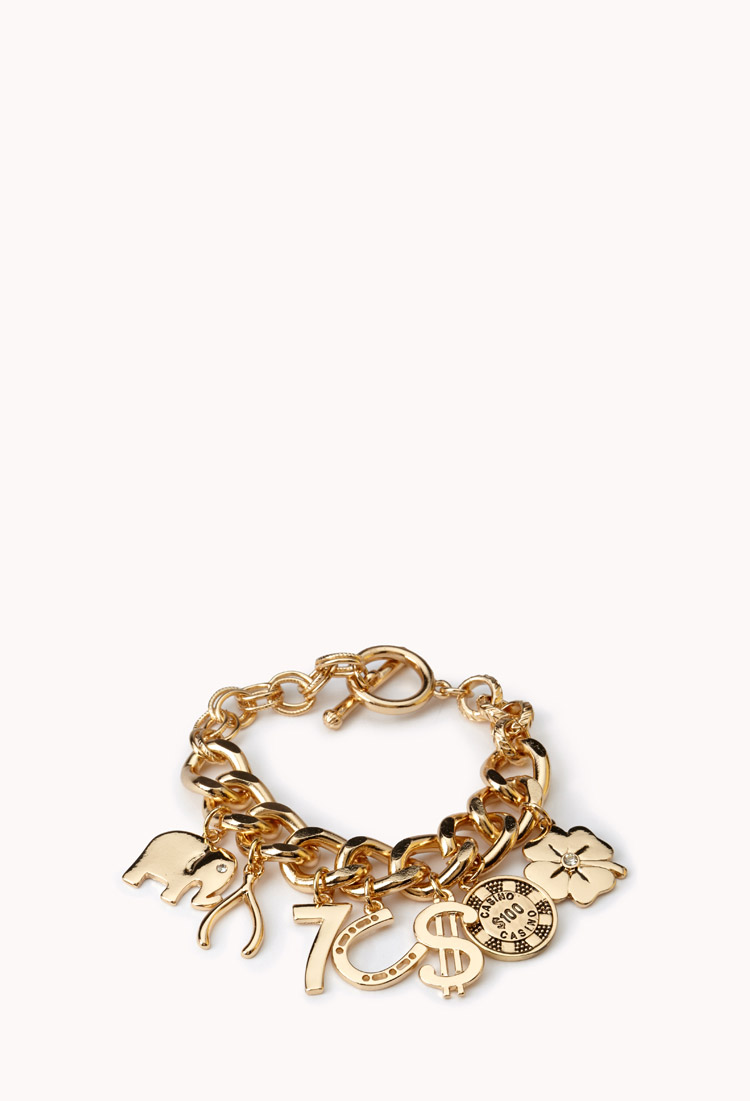 Forever 21 Get Lucky Charm Bracelet In Gold Metallic Lyst
