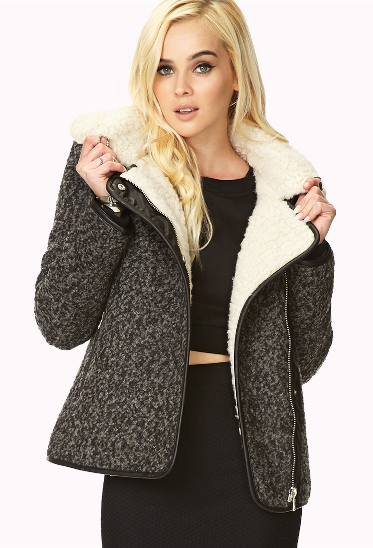 Lyst - Forever 21 Winter Nights Bomber Jacket in Gray