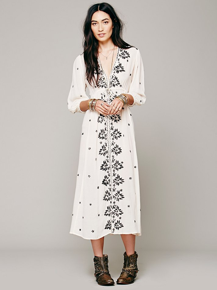 Free People Embroidered Fable Dress In White Lyst