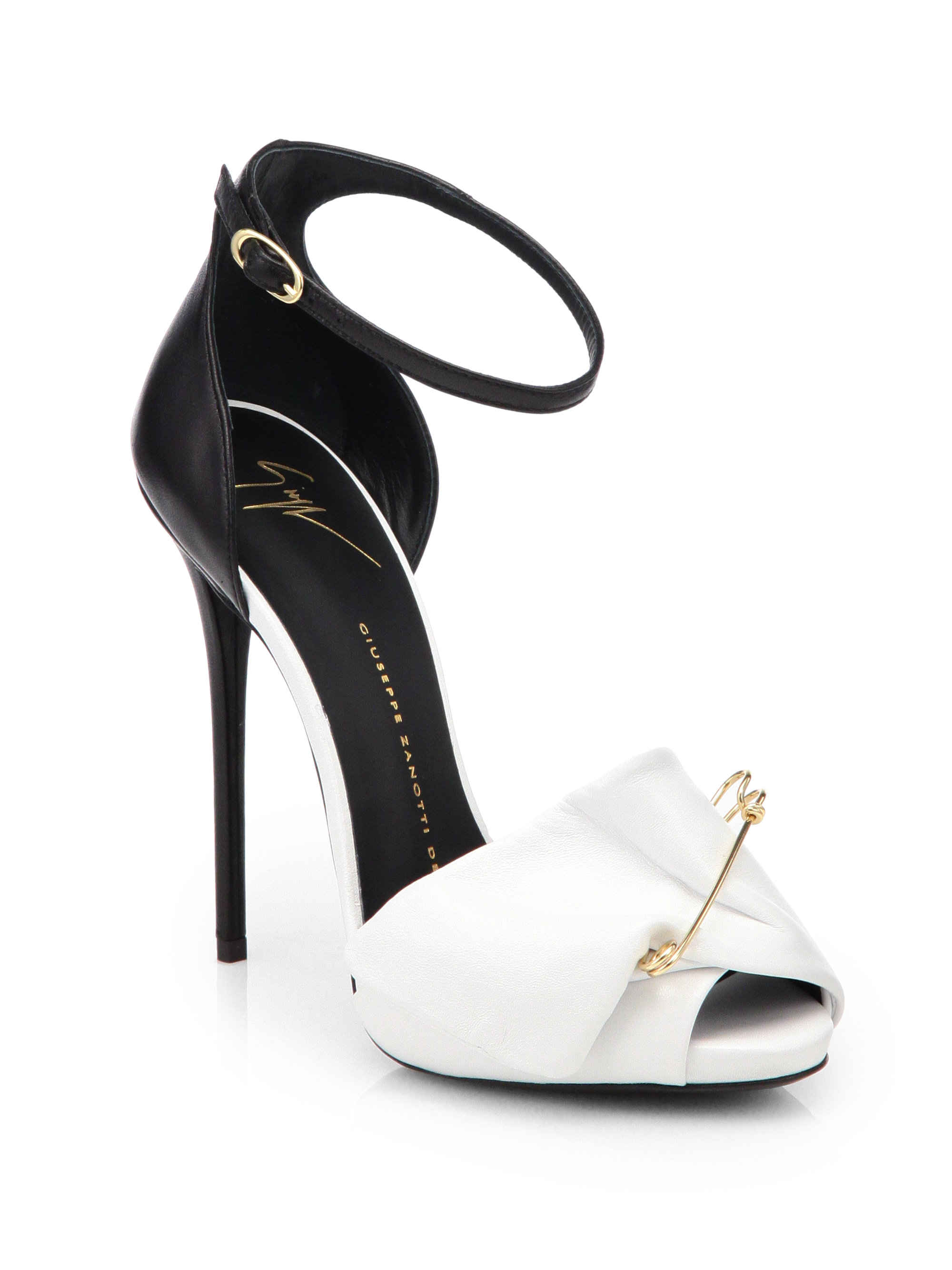 d86f61417 Giuseppe Zanotti Bicolor Leather Safety Pin Pumps in White - Lyst