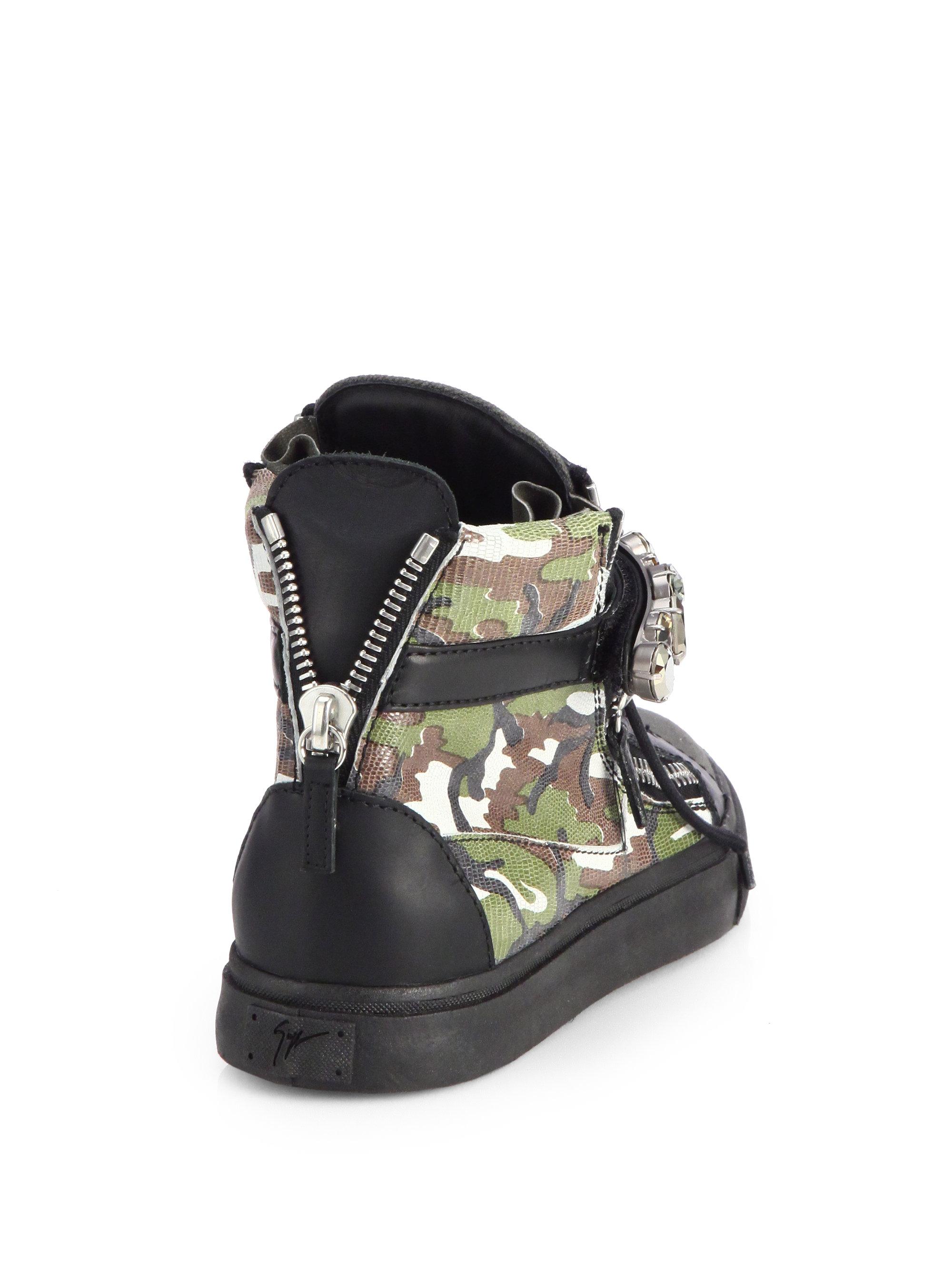 Giuseppe zanotti Jeweled Camouflage Leather Wedge Sneakers ...