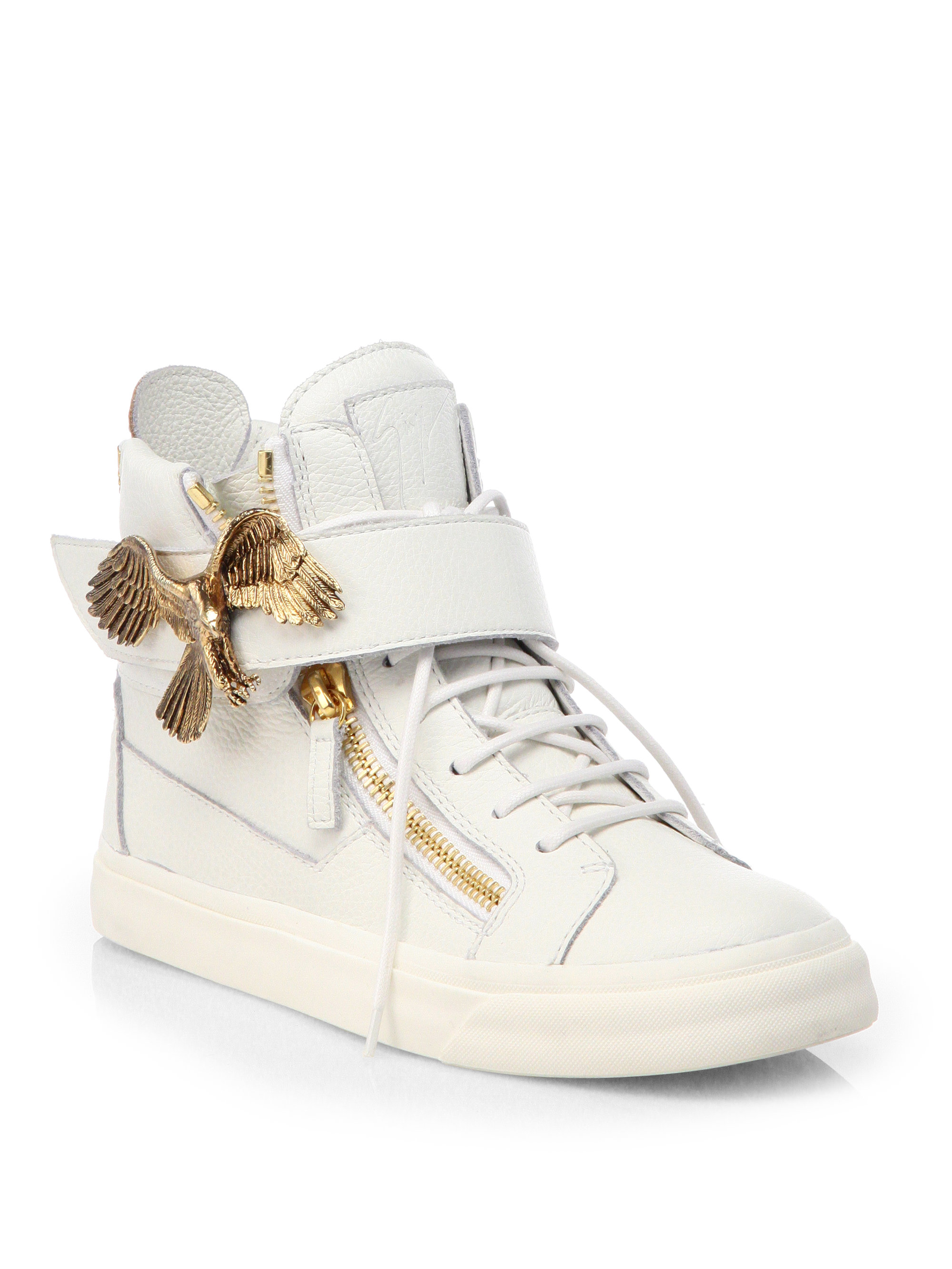 Giuseppe Zanotti Eagle Leather High Top Sneakers In White
