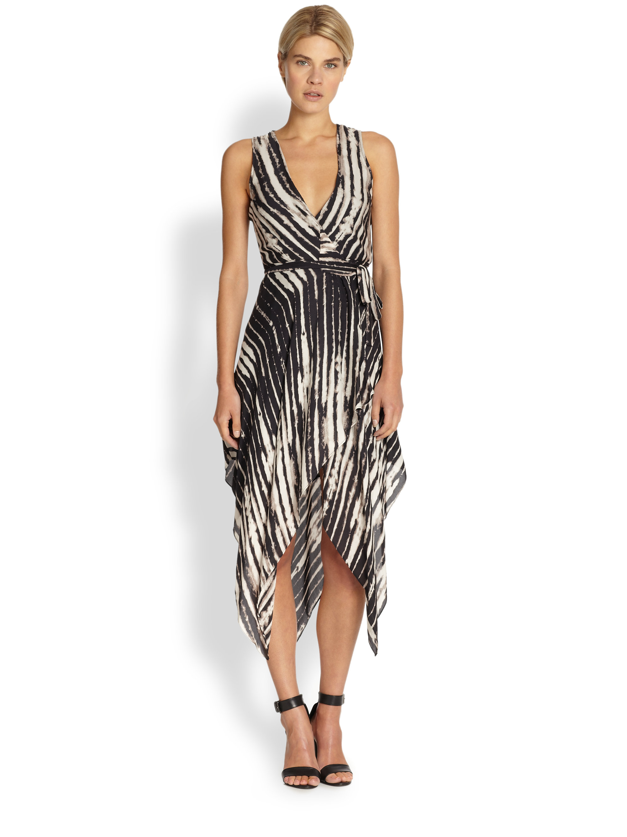 Haute Hippie Printed Handkerchief Wrap Dress In Black Lyst