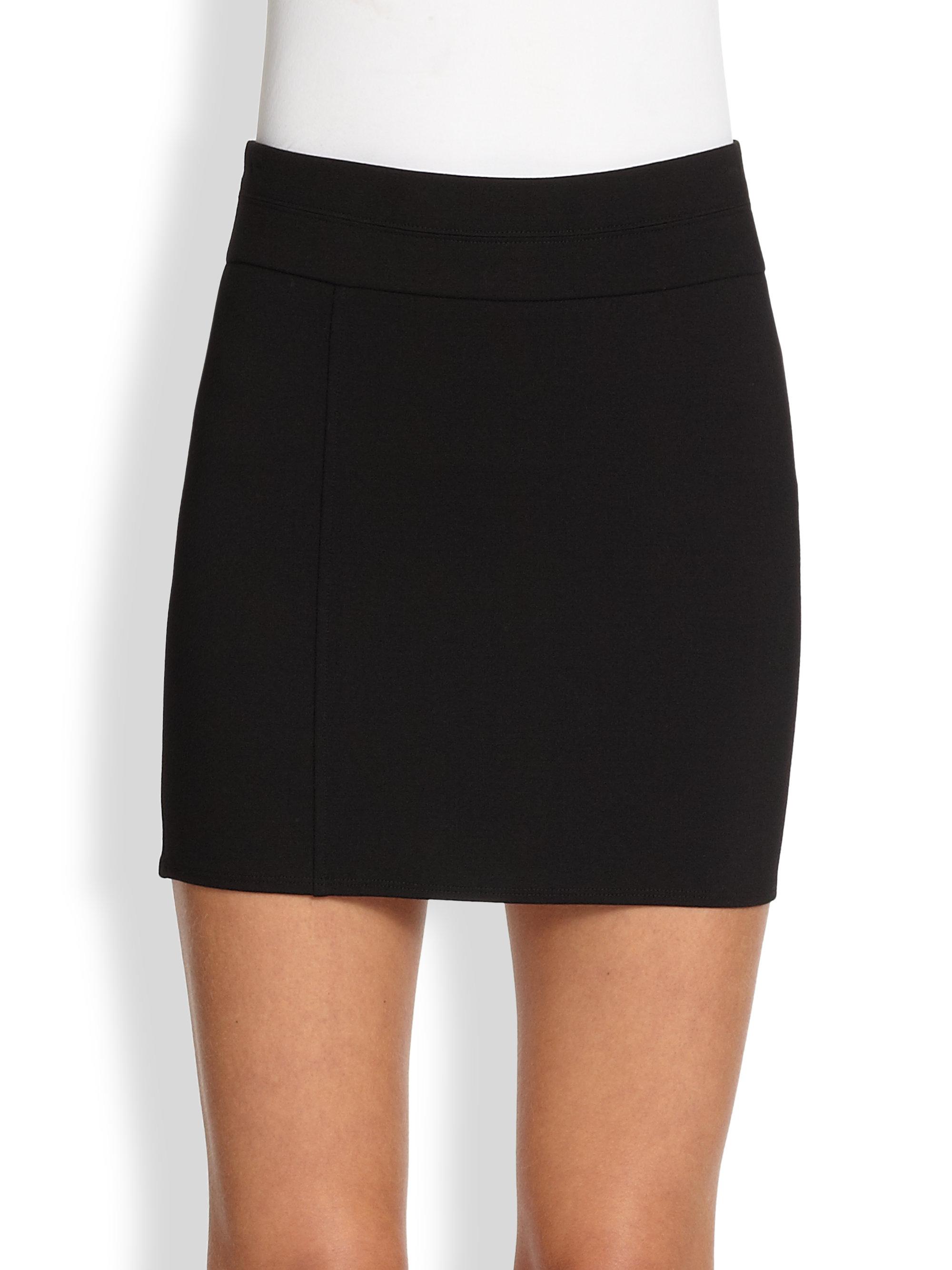 Helmut lang Ponte Knit Mini Skirt in Black | Lyst