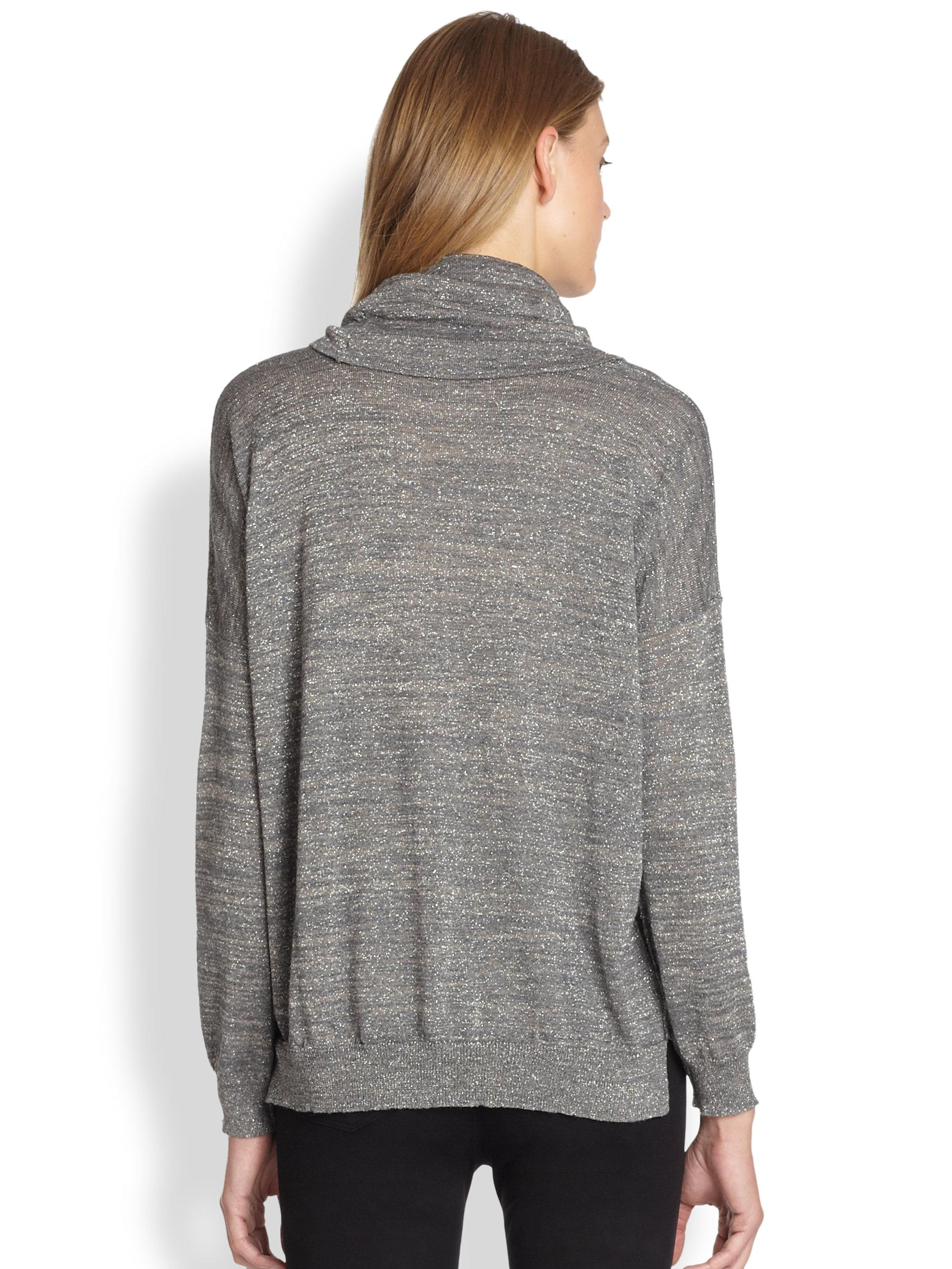 Joie Metallic Cowlneck Dolman Sweater in Gray | Lyst
