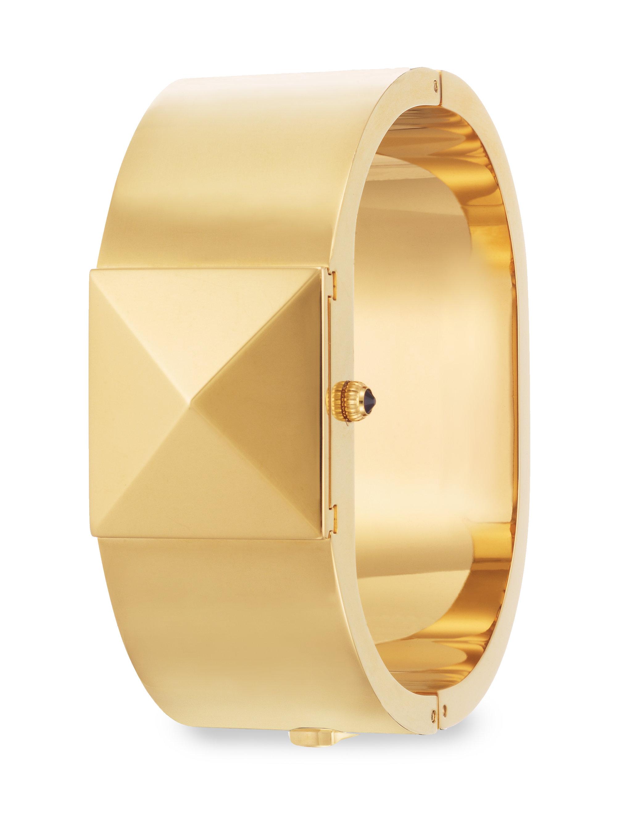 Hidden Face Pyramid Bangle Bracelet Watch