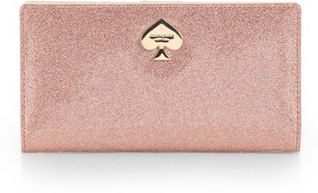Kate Spade Glitter Bug Stacy Wallet In Pink Rose Gold Lyst