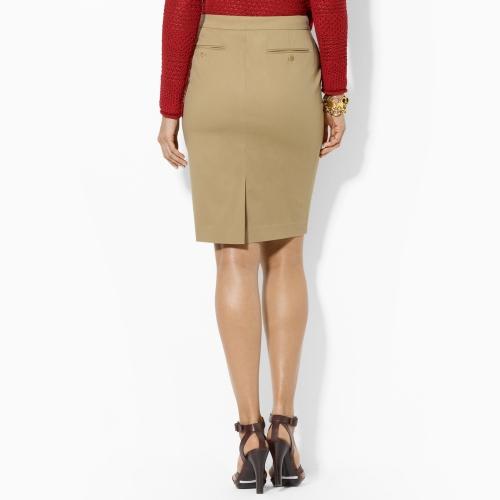 Lauren by ralph lauren Cotton Pencil Skirt in Natural | Lyst
