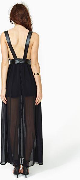 Nasty Gal Night Drift Faux Leather Maxi Dress In Black Lyst