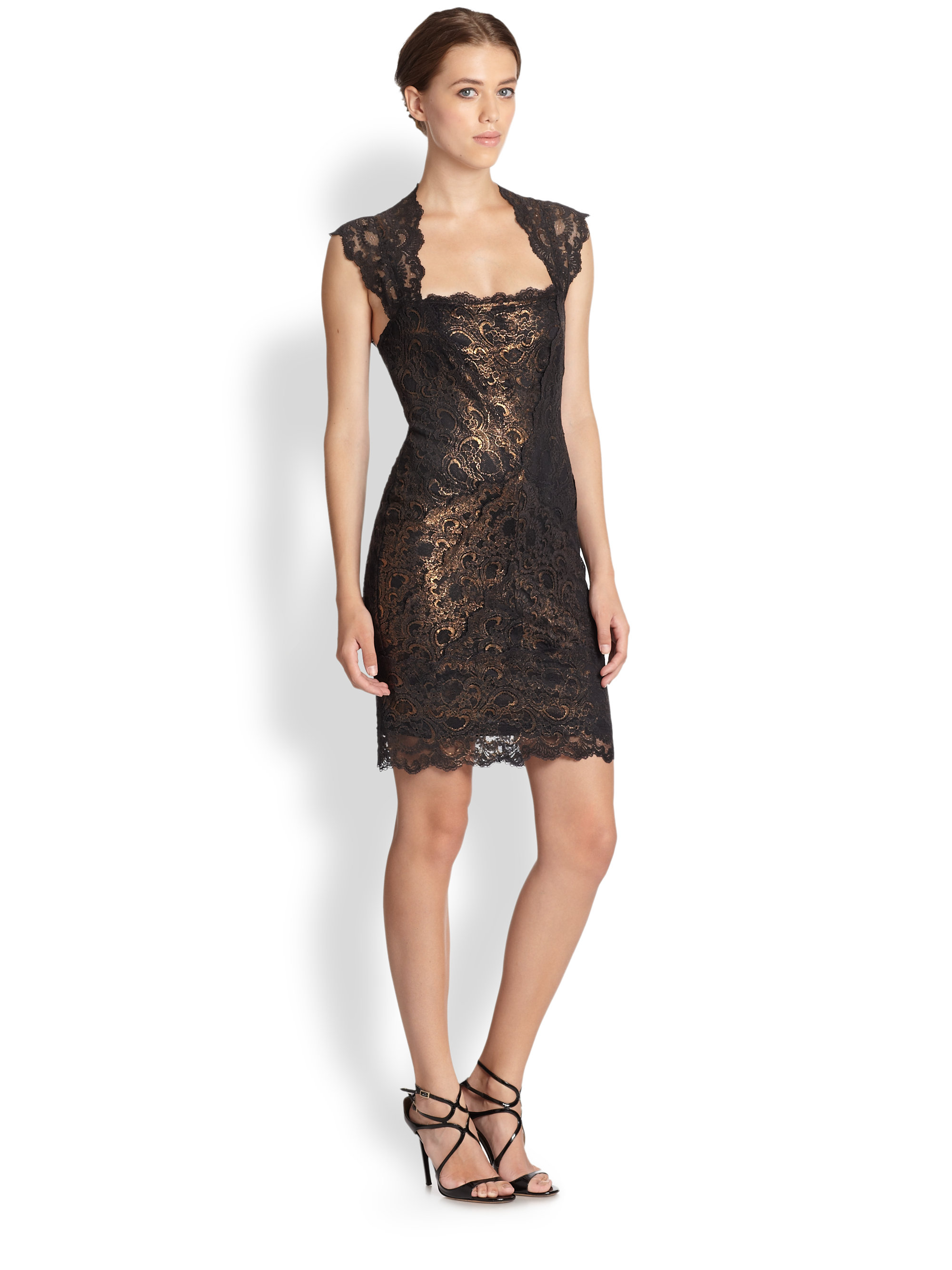 Nicole miller Eva Foiled Stretch Lace Dress in Black | Lyst