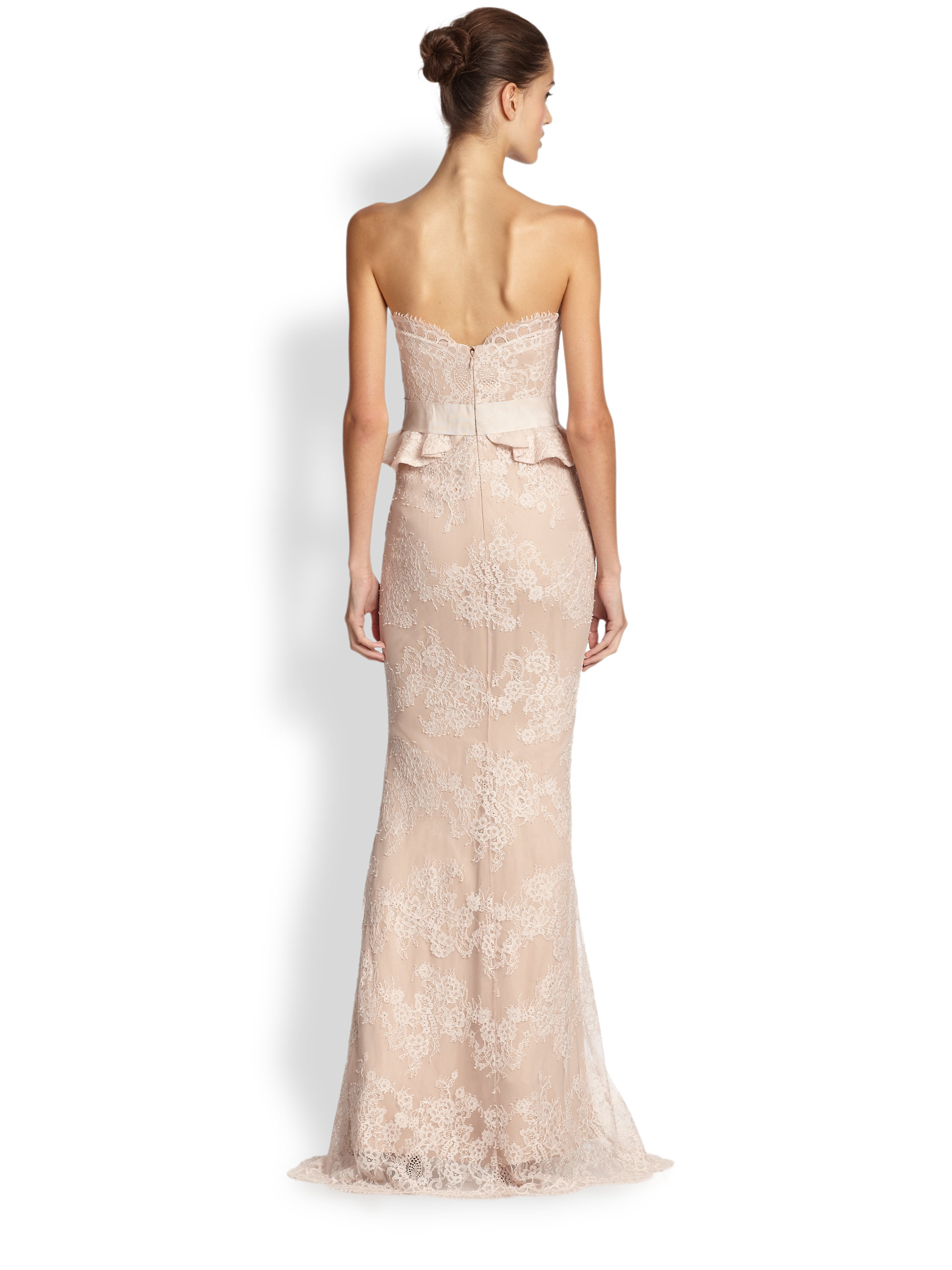 0d9fcbea Marchesa notte Silk Strapless Lace Peplum Gown in Pink - Lyst
