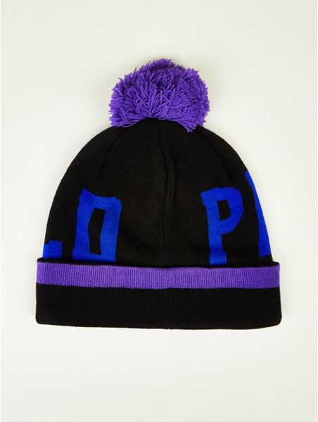 penfield bobble beanie hat in blue for black lyst