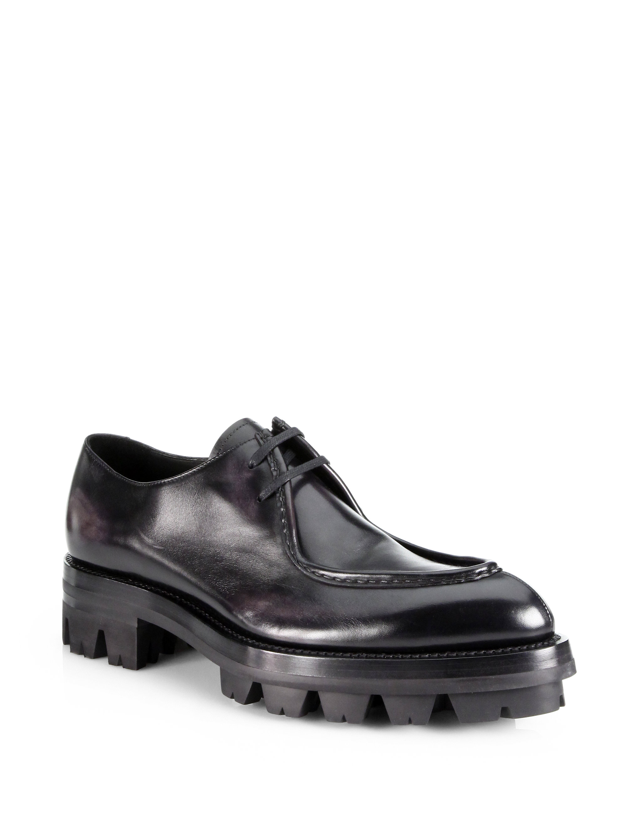 Rubber Rings For Men >> Prada Runway Calfskin Laceup with Rubber Lug Sole in Black for Men | Lyst