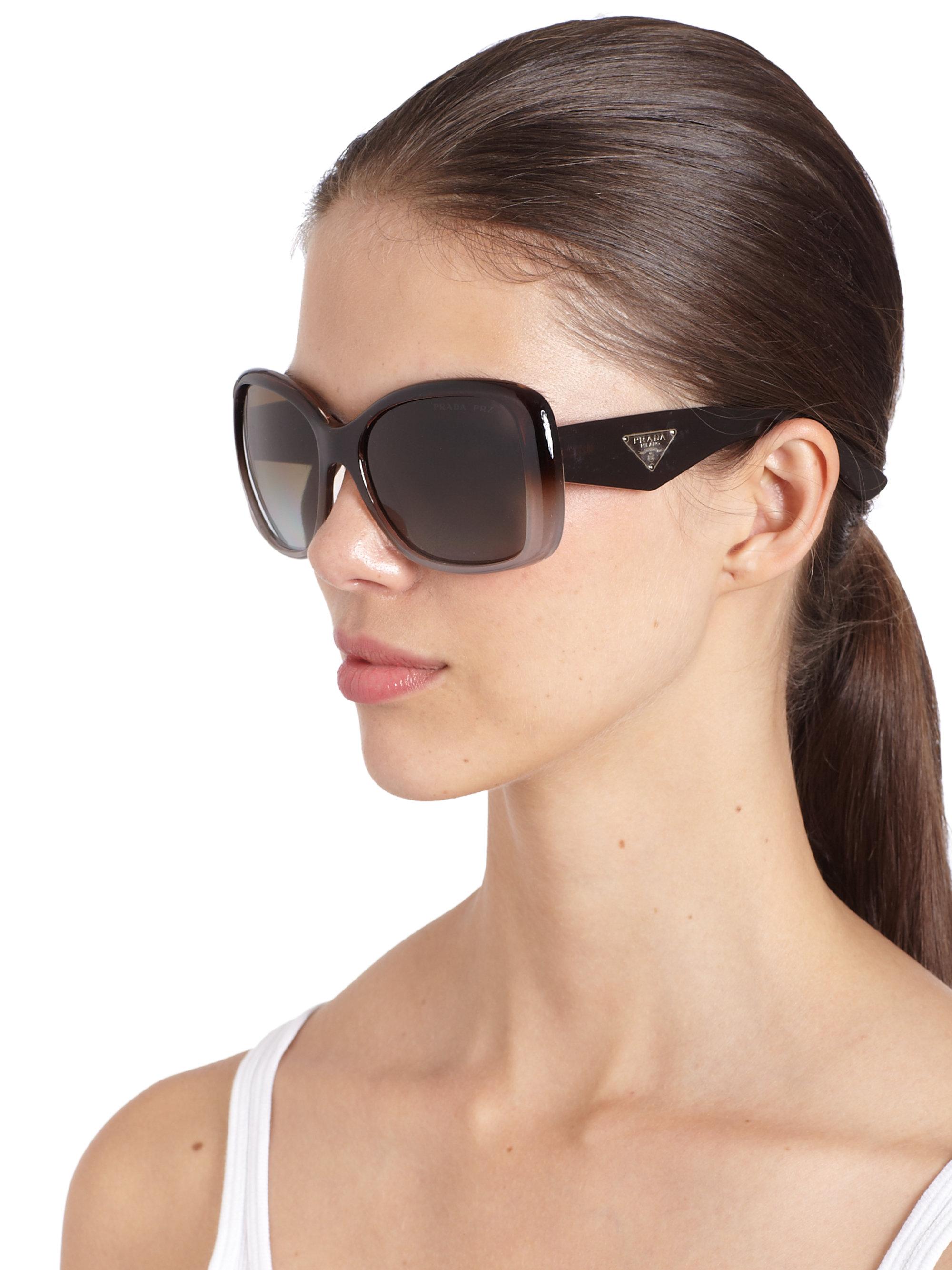 e08fbf3f7f ... cheapest prada oversized square glam sunglasses in brown lyst b7723  ea1a3