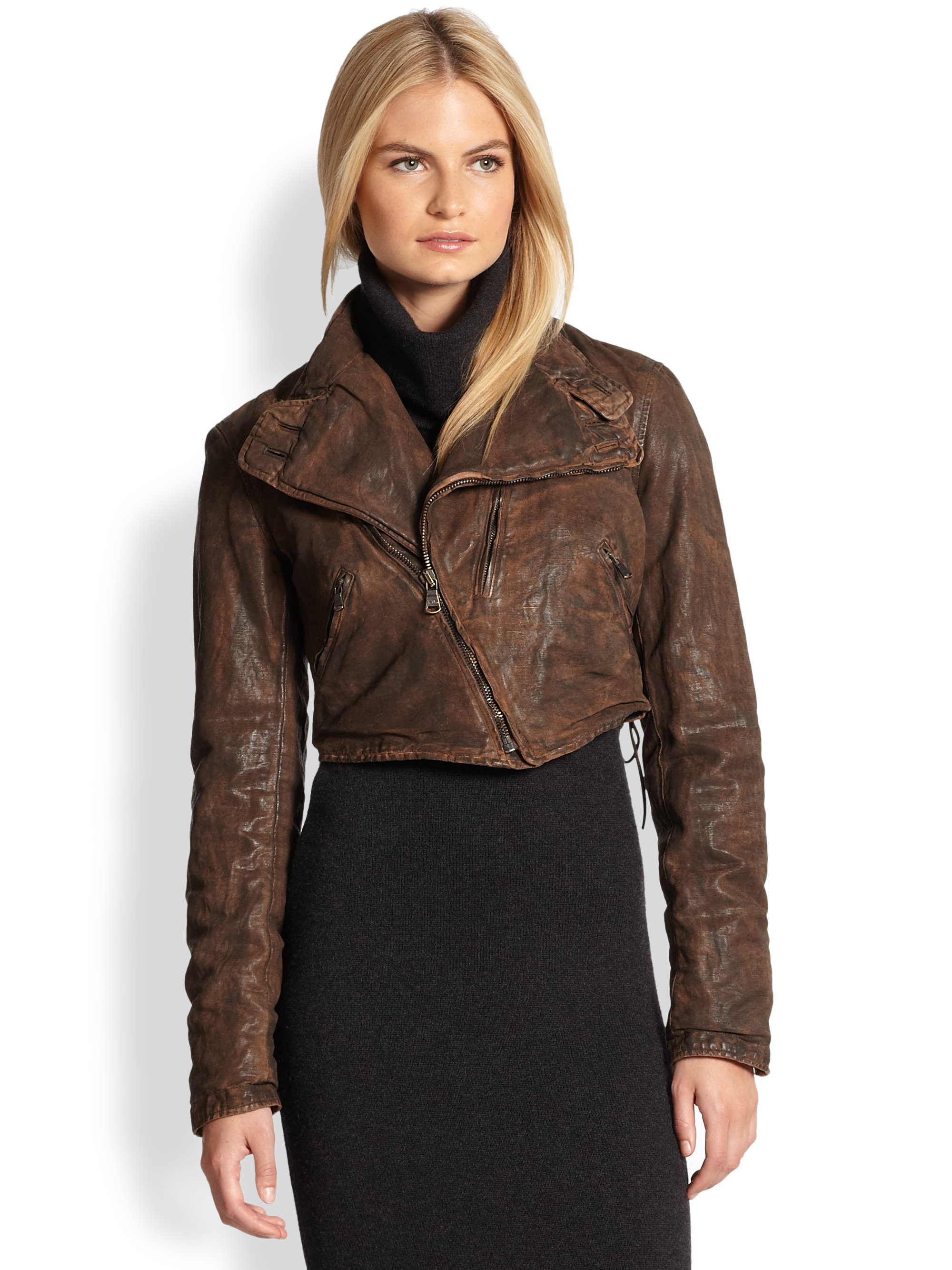 Lyst Ralph Lauren Black Label Brodie Moto Jacket In Brown