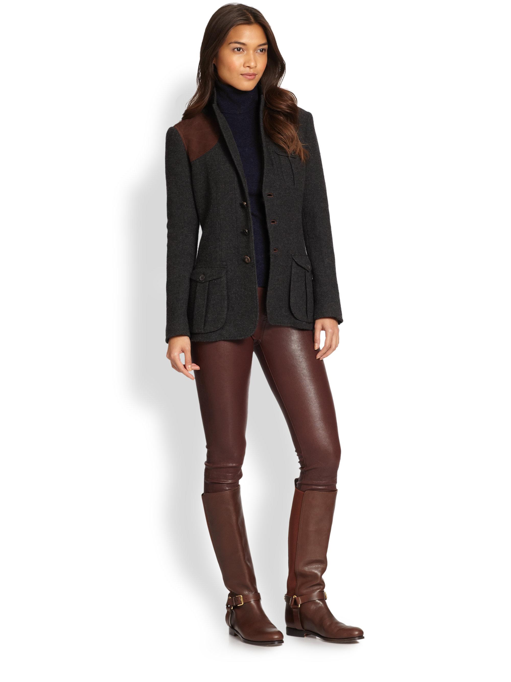 Ralph Lauren Blue Label Suedetrimmed Wool Shooting Jacket