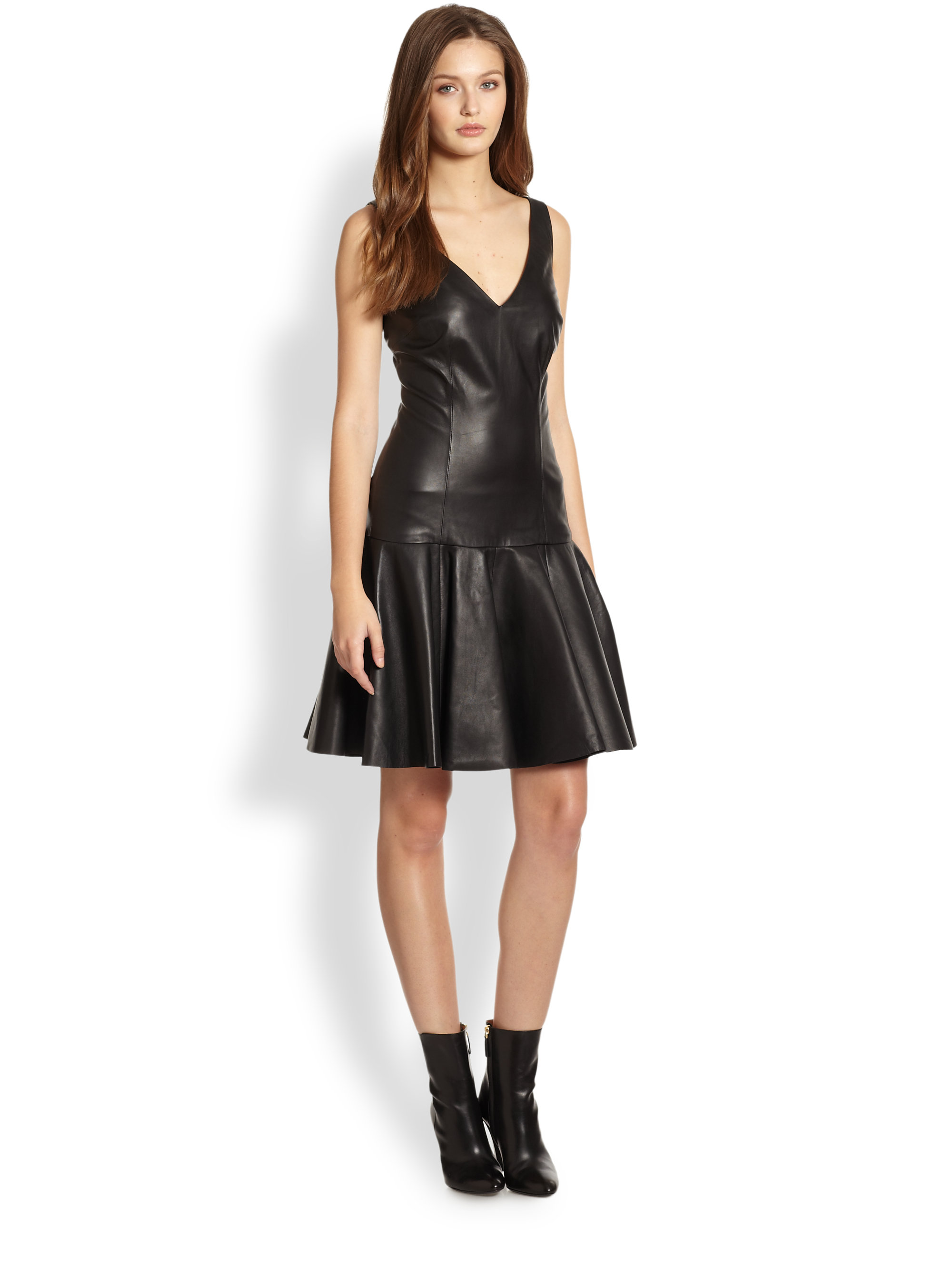 Ralph Lauren Blue Label Stasya Leather Dropwaist Dress In