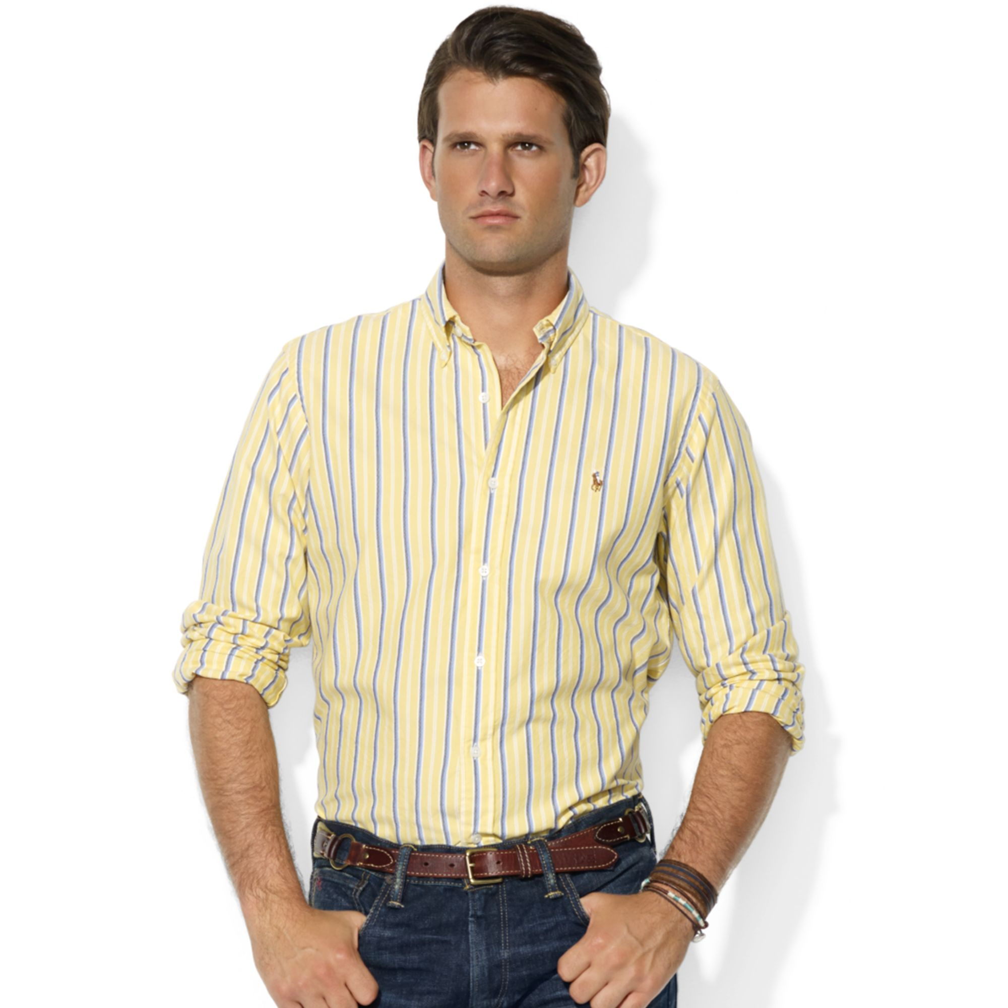 ralph lauren classicfit longsleeve striped cotton oxford shirt in yellow for men yellow blue. Black Bedroom Furniture Sets. Home Design Ideas