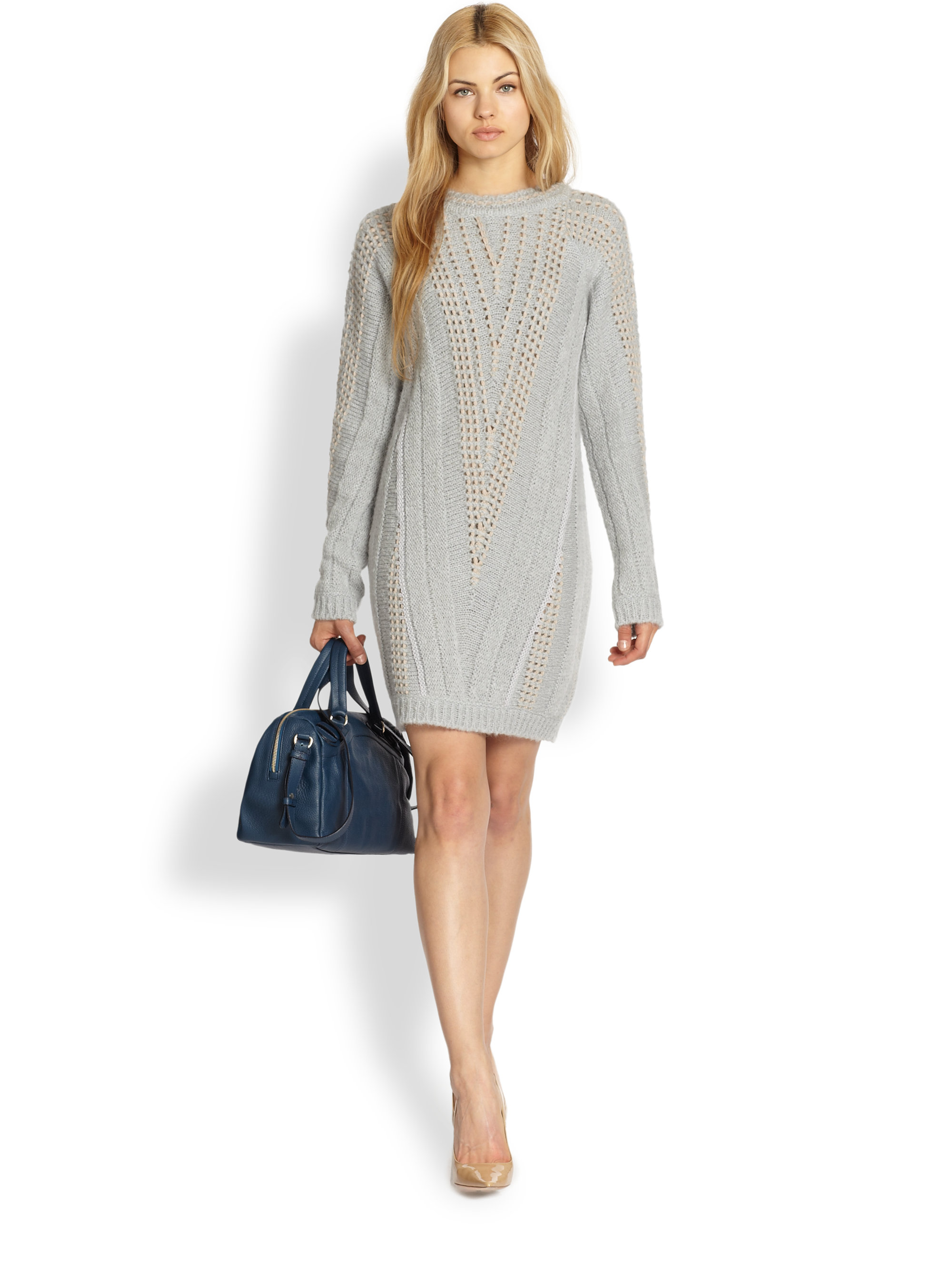 In By Stitched Sweater Ribbed Gray Lyst V Dress Chloé See Contrast VpqSzUM