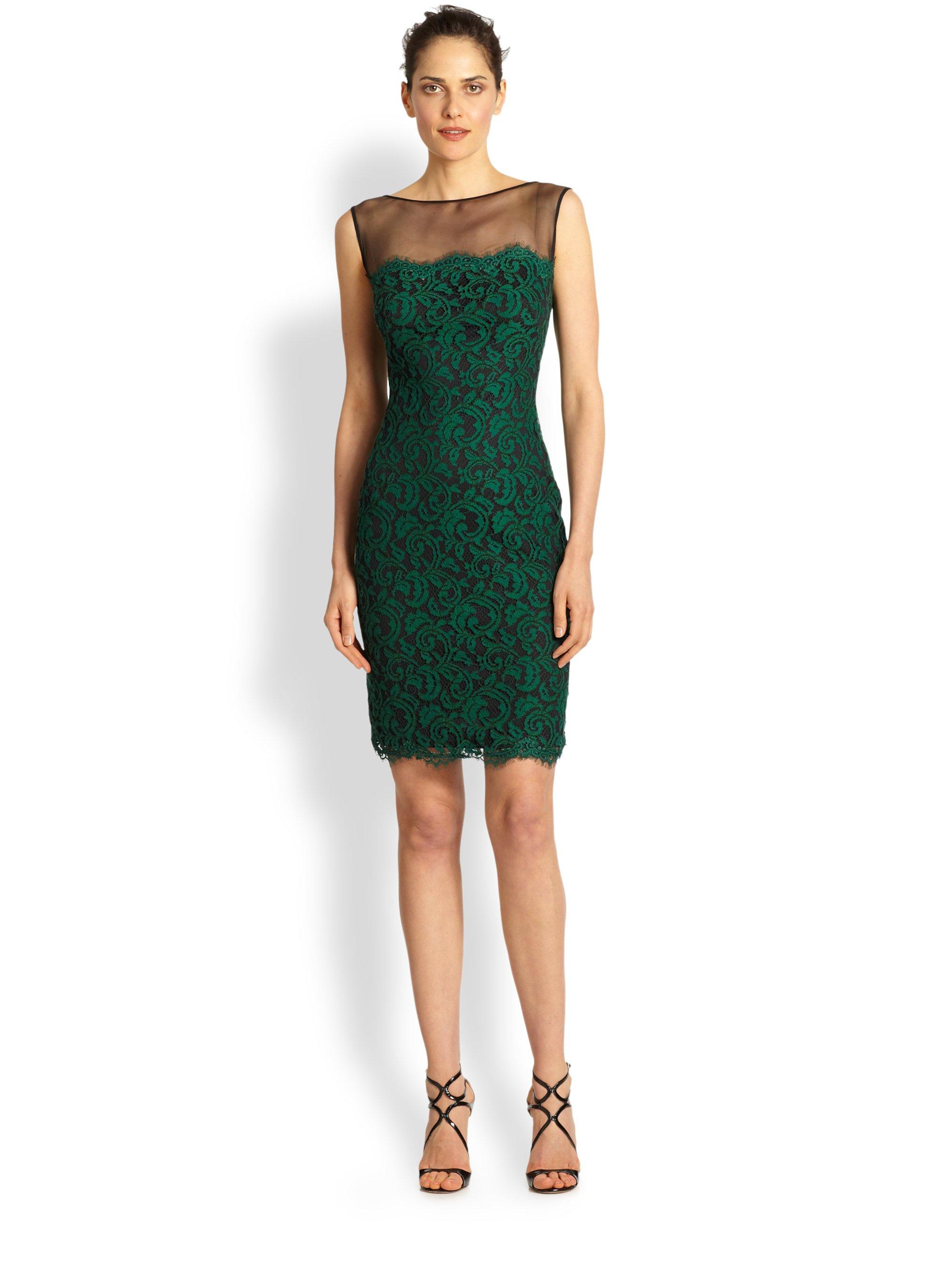 Tadashi Shoji Illusion Lace Cocktail Dress in Green - Lyst