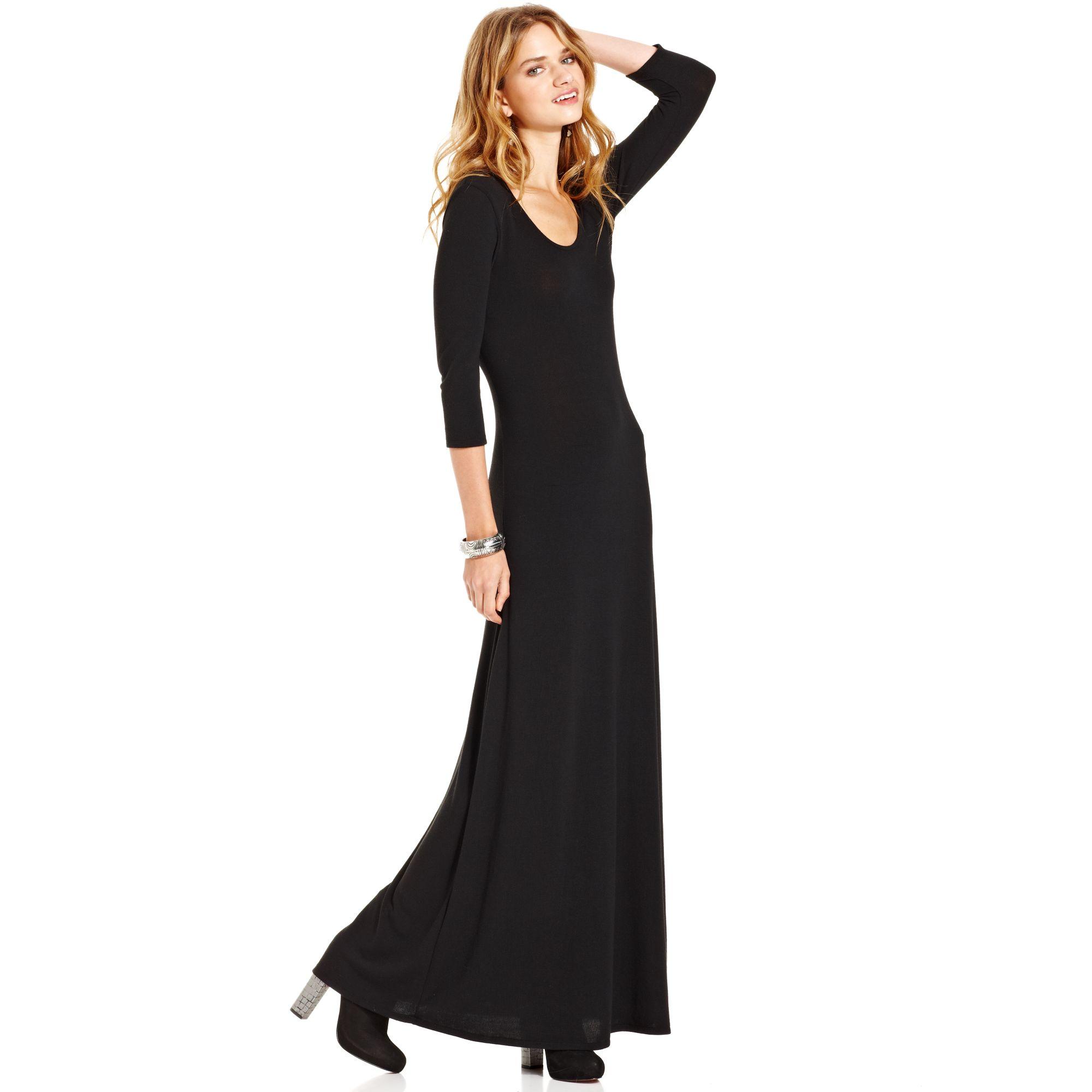 Macys Ls Sweater Knit Maxi Dress In Black - Lyst-6867