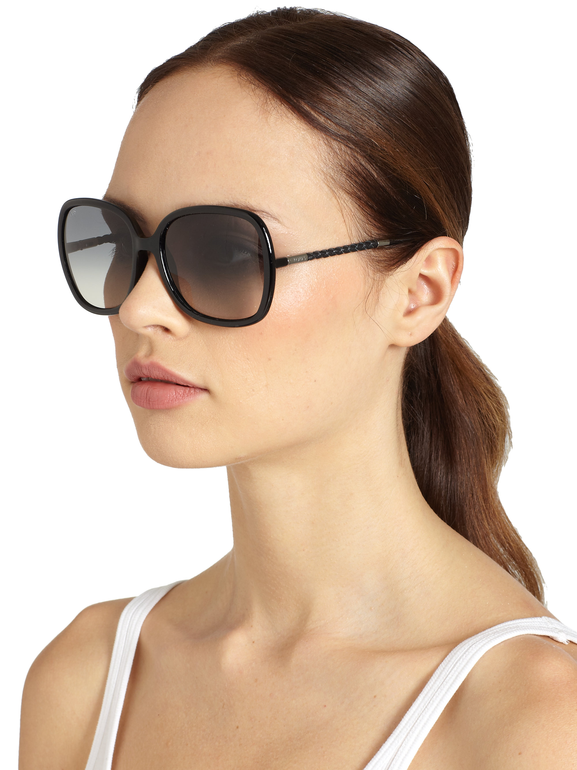 Tod S Braided Oversized Square Sunglasses In Black Lyst