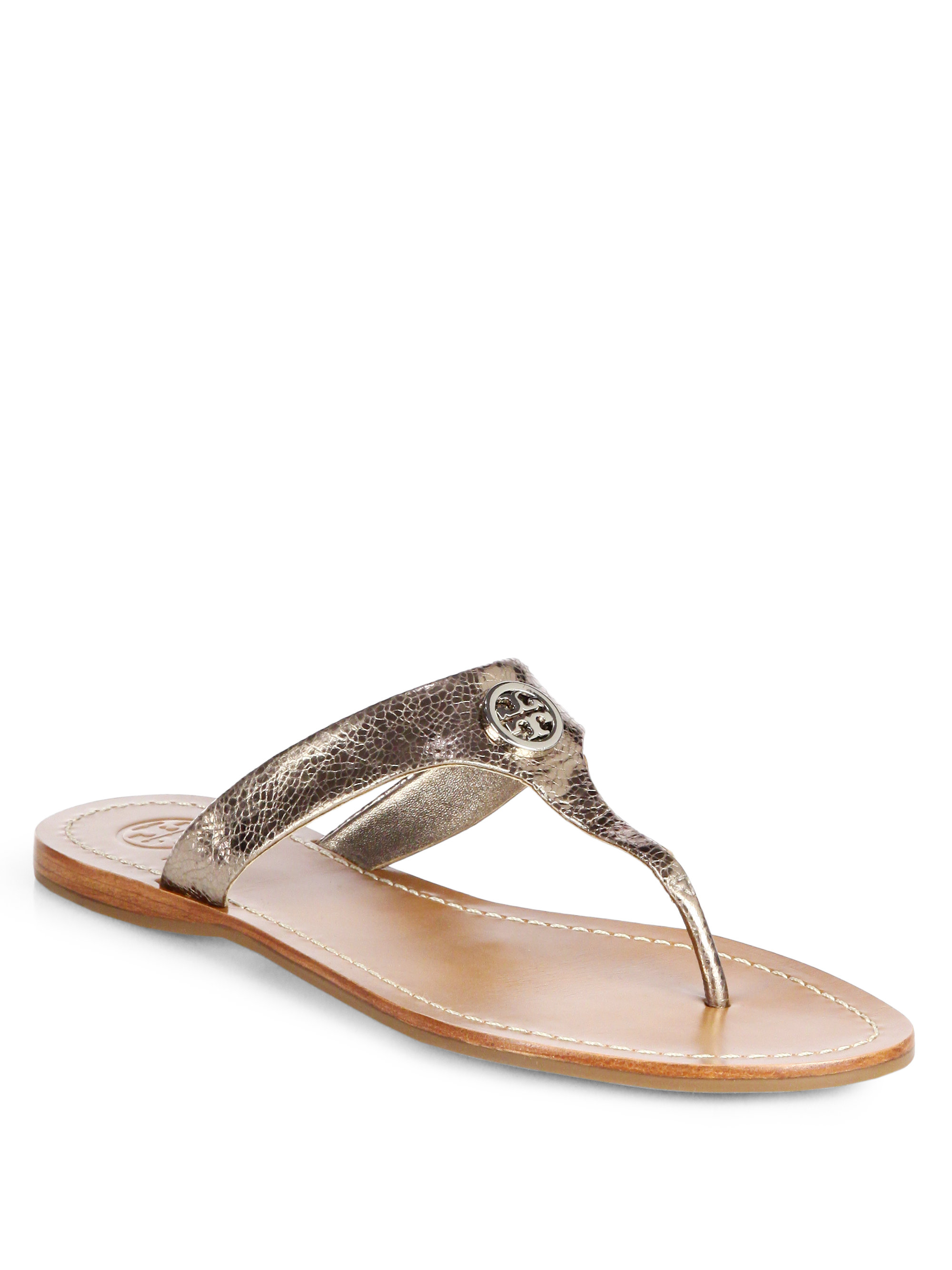 6fe945f7f43 Tory Burch Cameron Crackled Metallic Leather Thong Sandals in ...