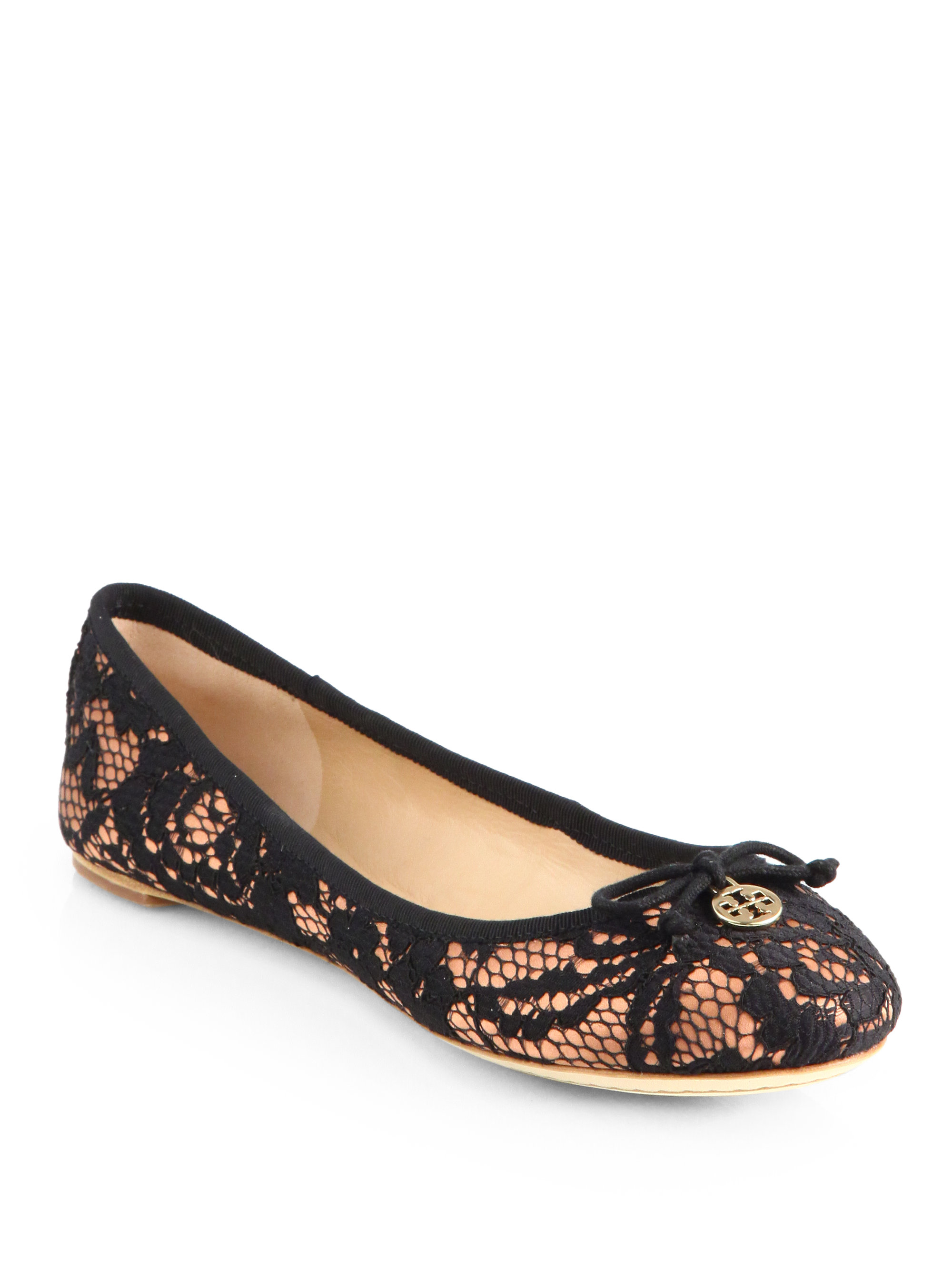 Tory Burch Chelsea Lace Covered Silk Ballet Flats In Black