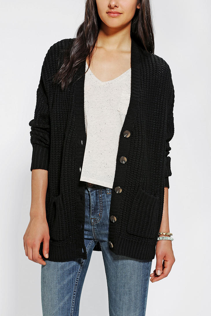 Urban outfitters Twist Back Shaker Cardigan in Black | Lyst