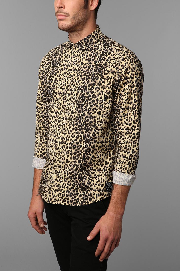 f354ce3d34 Lyst - Urban Outfitters Civil Cheetah Print Shirt in Black for Men