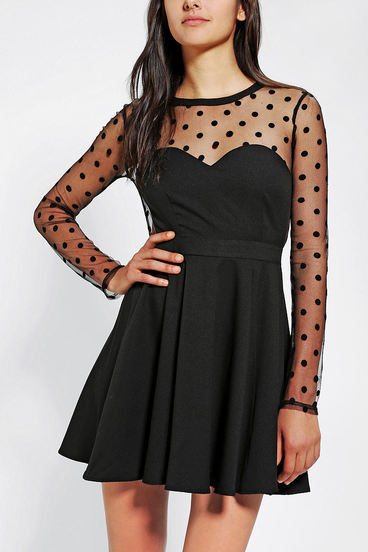 Urban Outfitters Coincidence Chance Polka Dot Mesh Dress
