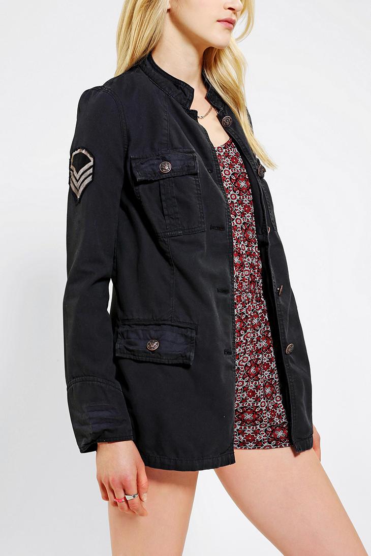 Black canvas military jacket